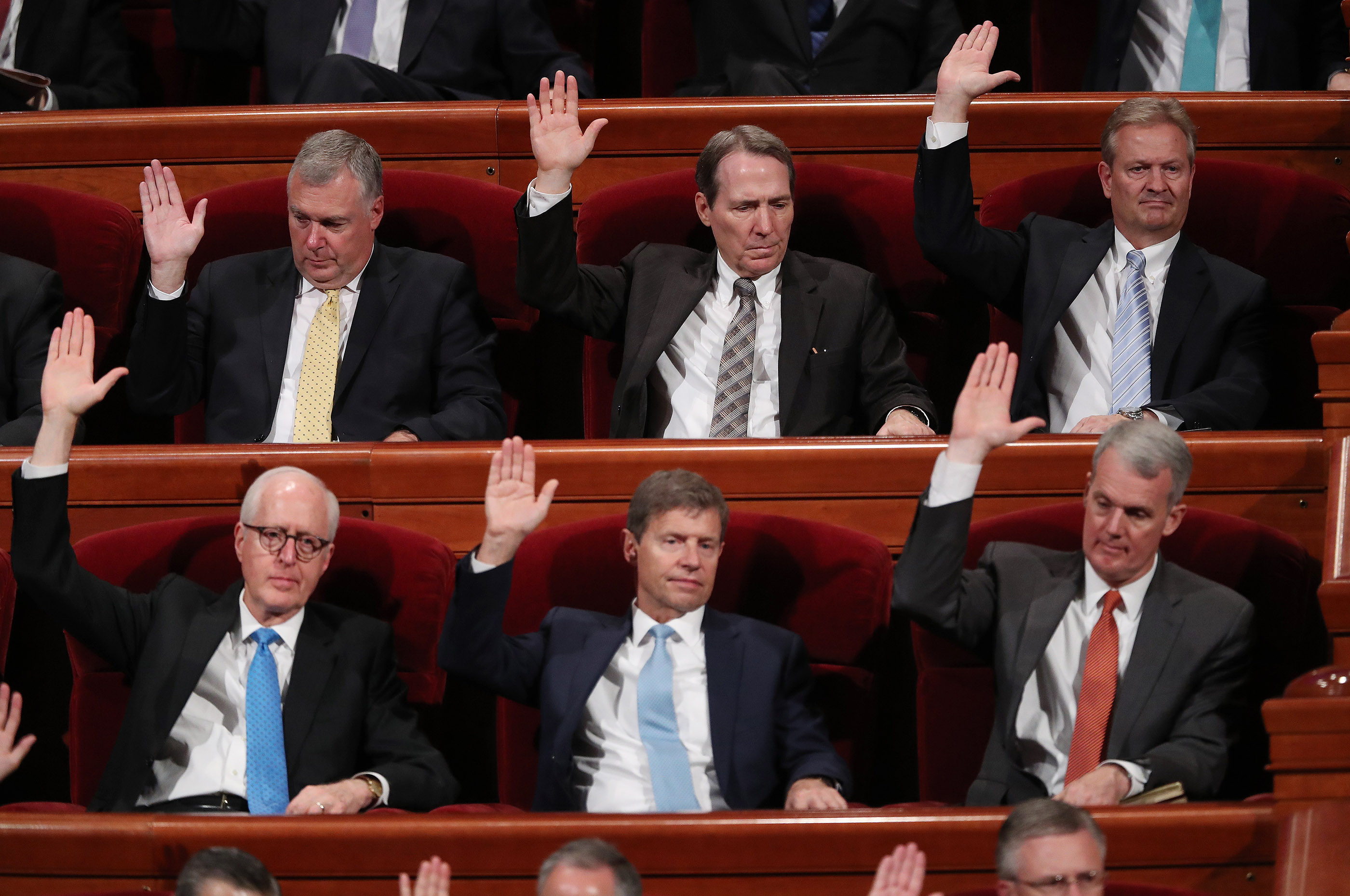 General authorities sustain other general authorities during the Saturday afternoon session of the 188th Semiannual General Conference of The Church of Jesus Christ of Latter-day Saints in the Conference Center in Salt Lake City on Saturday, Oct. 6, 2018.