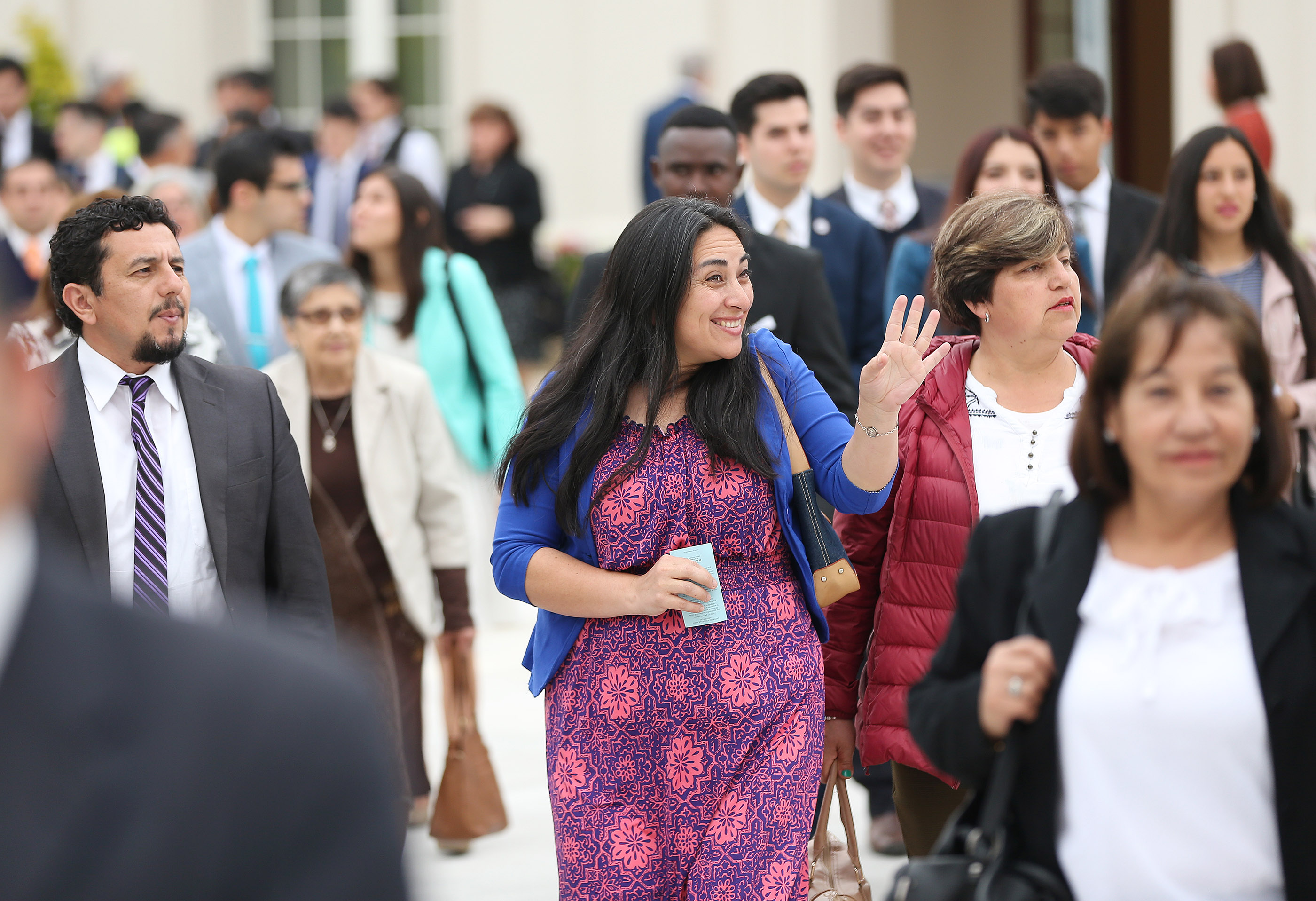 Sylvana Flores joins attendees of the dedication of the Concepcion Chile Temple on Sunday, Oct. 28, 2018, in Concepcion, Chile.