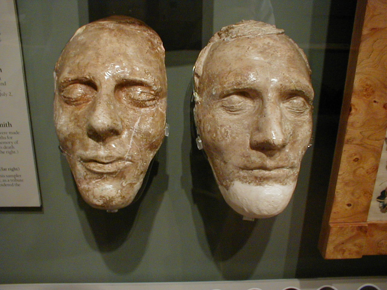The death masks of Joseph and Hyrum Smith are on display.
