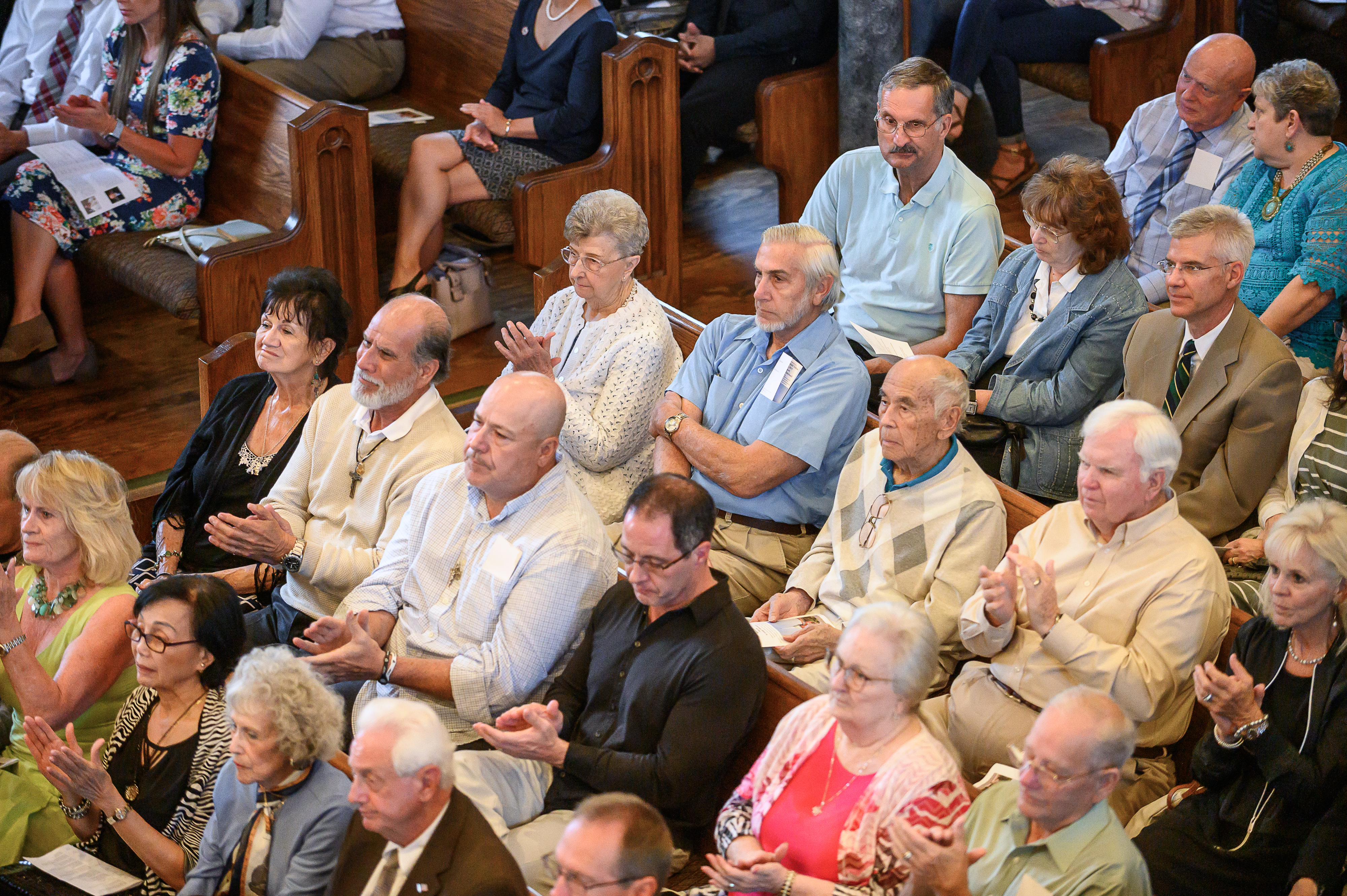 Attendees applaud Bishop Oscar A. Solis' remarks at the Historic Interfaith Tribute at the St. George Tabernacle in St. George, Utah on Thursday, May 2, 2019.