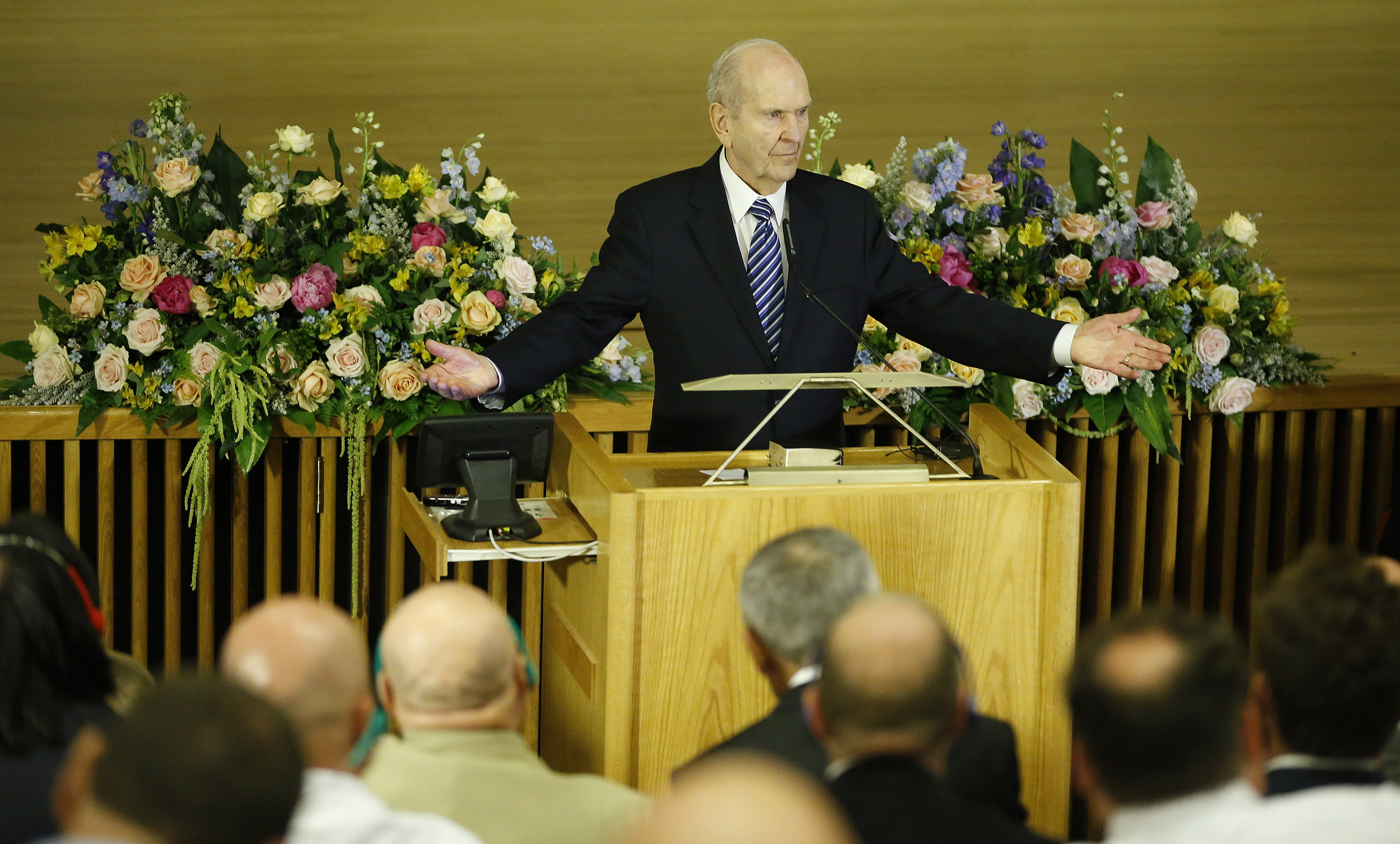 President Russell M. Nelson, president of The Church of Jesus Christ of Latter-day Saints, speaks during a Jerusalem District Conference priesthood meeting at the BYU Jerusalem Center in Jerusalem on Saturday, April 14, 2018.