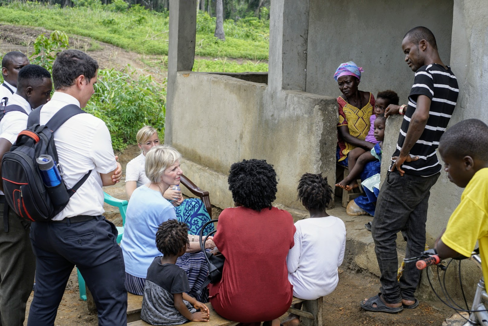 Sister Jean B. Bingham visits with members in Sierra Leone while visiting the country to observe the implementation of the Gospel Literacy program. Sister Bingham, Relief Society general president, visited the West African country June 5 through June 16, 2019.