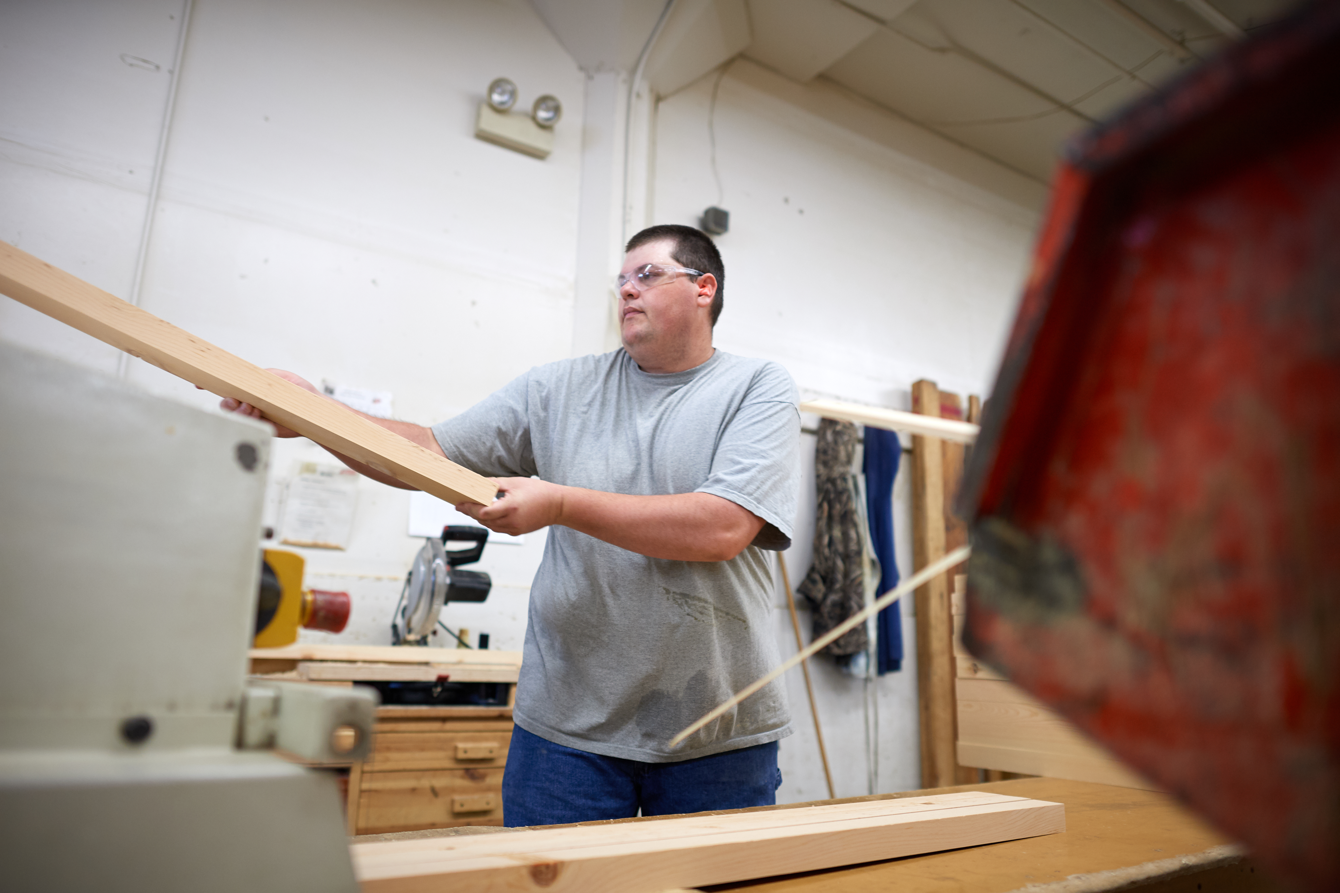 An employee works at the Deseret Manufacturing plant in South Salt Lake.