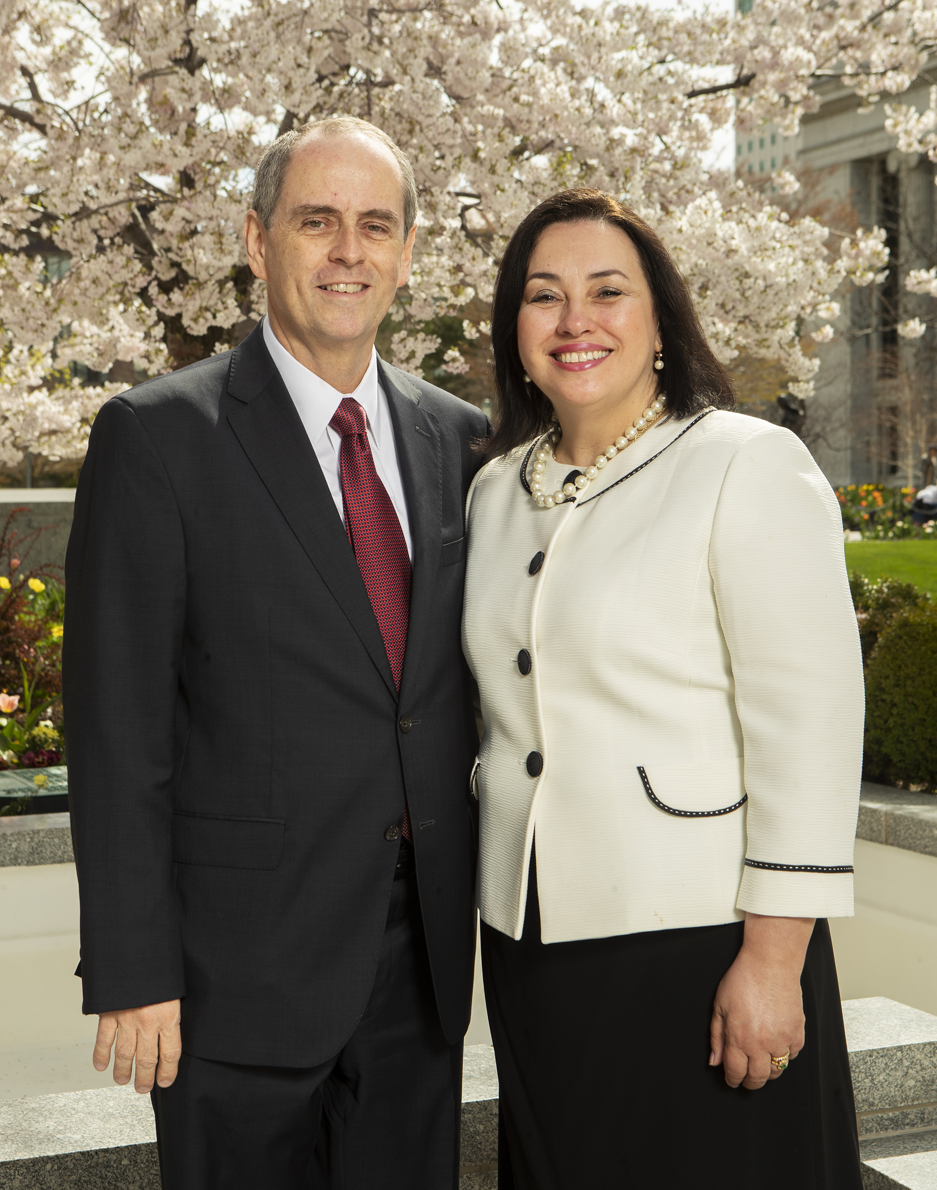 Sunday School first Counselor, Brother Milton da Rocha Camargo and his wife, Sister Patricia Camargo, pose for a photo at the Church Office Building in Salt Lake City on Monday, April 8, 2019.