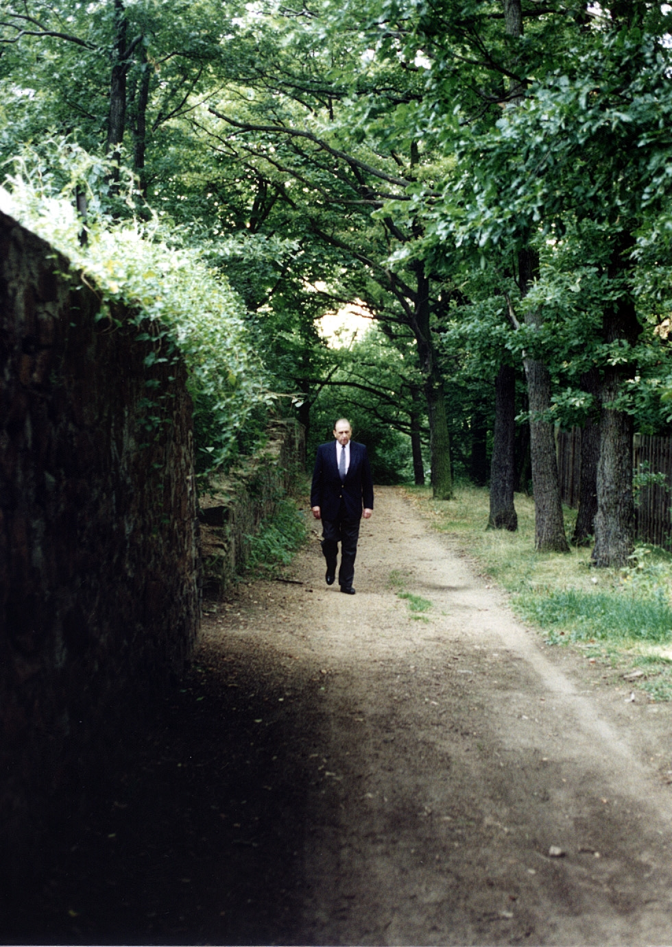 A photo taken on Aug. 26, 1995, shows President Thomas S. Monson walking from site where years earlier he offered a prayer upon the land of the German Democratic Republic (East Germany).