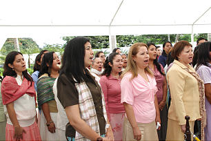 Choir performs at the cornerstone ceremony during the dedication of the San Salvador El Salvador Temple.