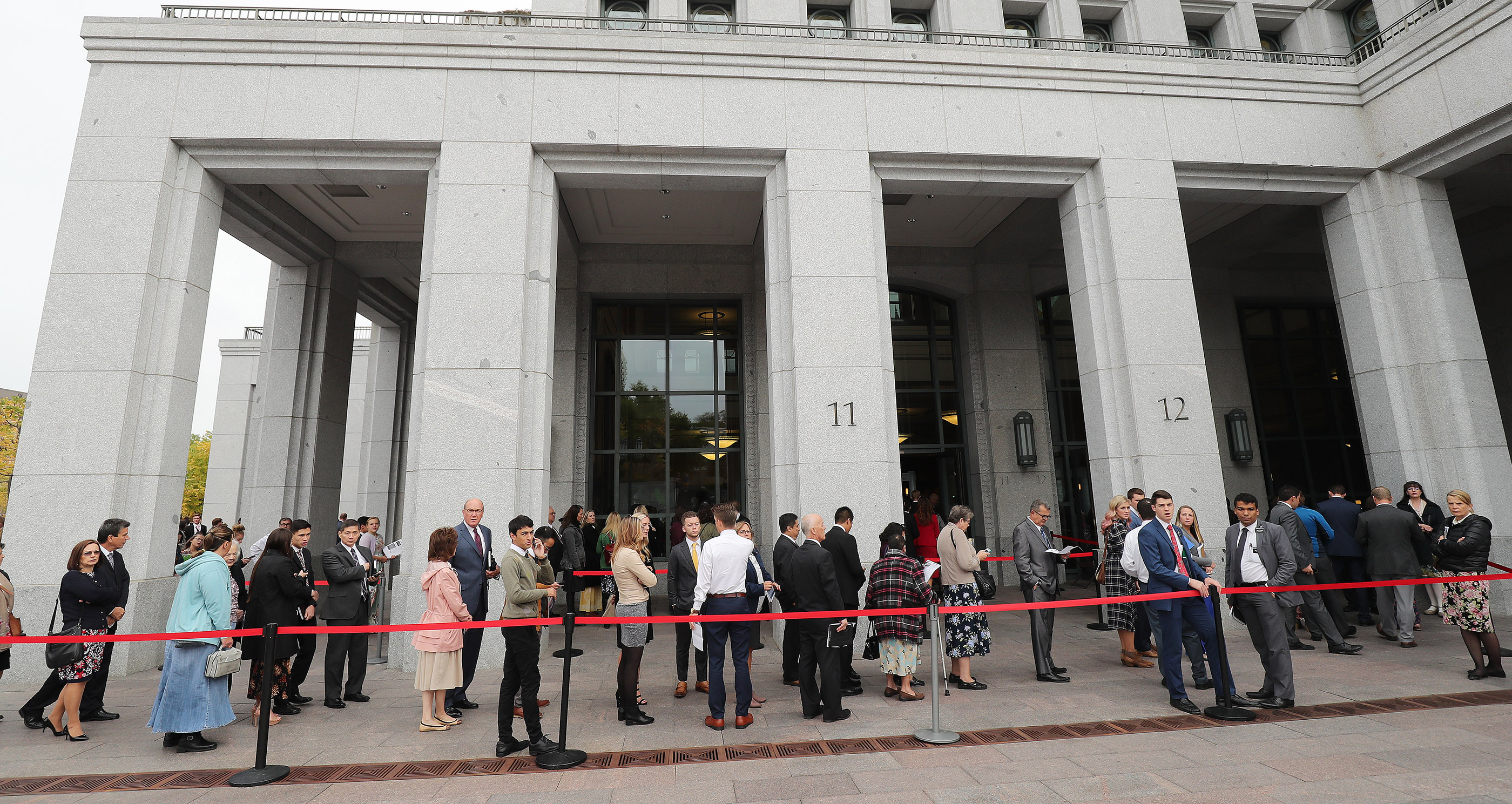 Attendees line up for the Saturday morning session of the 188th Semiannual General Conference of The Church of Jesus Christ of Latter-day Saints in the Conference Center in Salt Lake City on Saturday, Oct. 6, 2018.