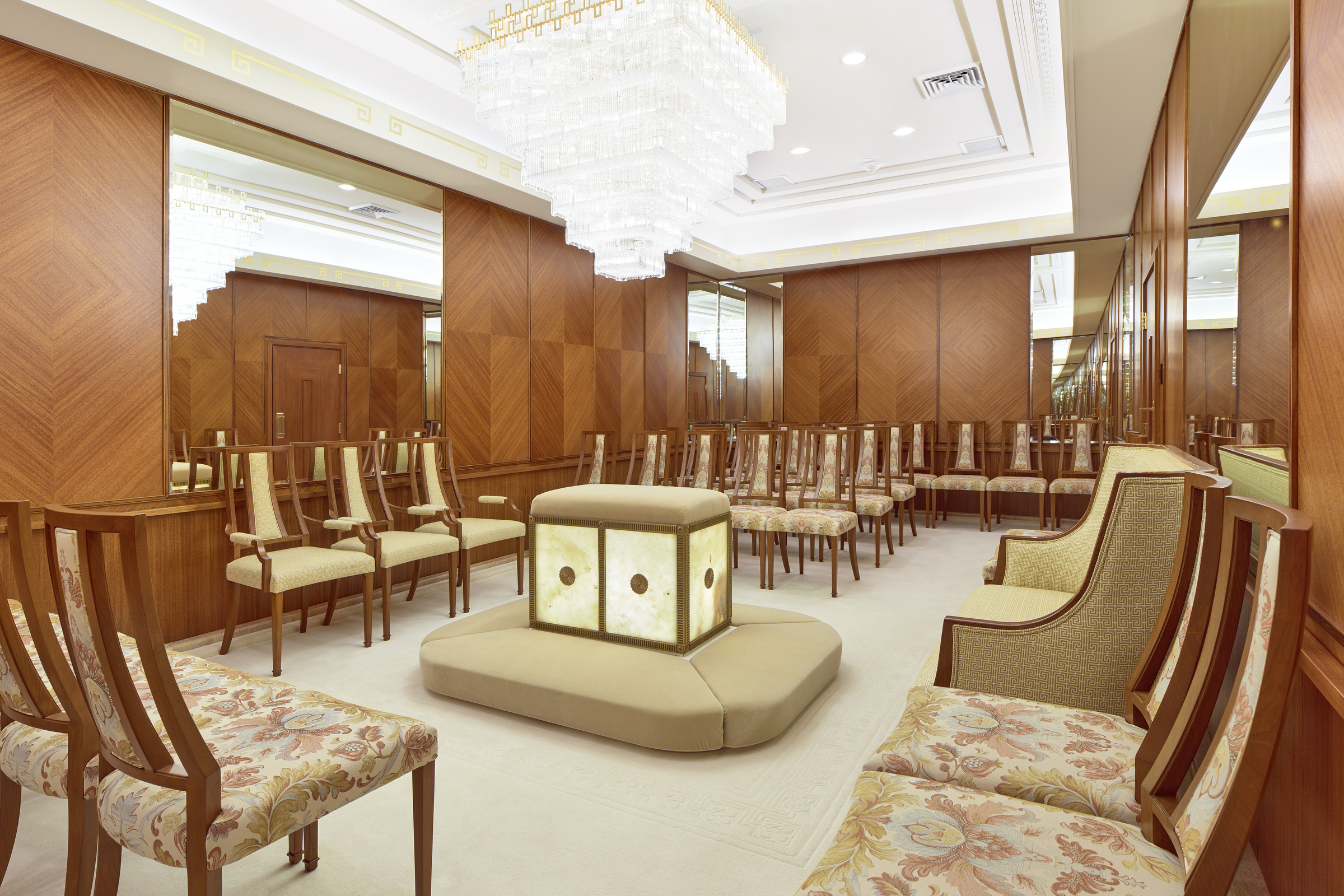 A sealing room in the newly renovated Oakland California Temple, of The Church of Jesus Christ of Latter-day Saints, in Oakland, Calif., on Monday, May 6, 2019.
