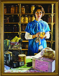 "The painting, ""Woman With Food Storage,"" by Judith A. Mehr hangs on the wall of Sister Julie B. Beck's office."
