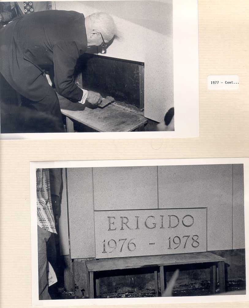A page from LDS Church Archives shows a photograph of President Marion G. Romney, a counselor in the First Presidency, sealing the cornerstone of the São Paulo Temple in 1977, as well as a photograph of the sealed cornerstone. President Spencer W. Kimball presided at the cornerstone ceremony.
