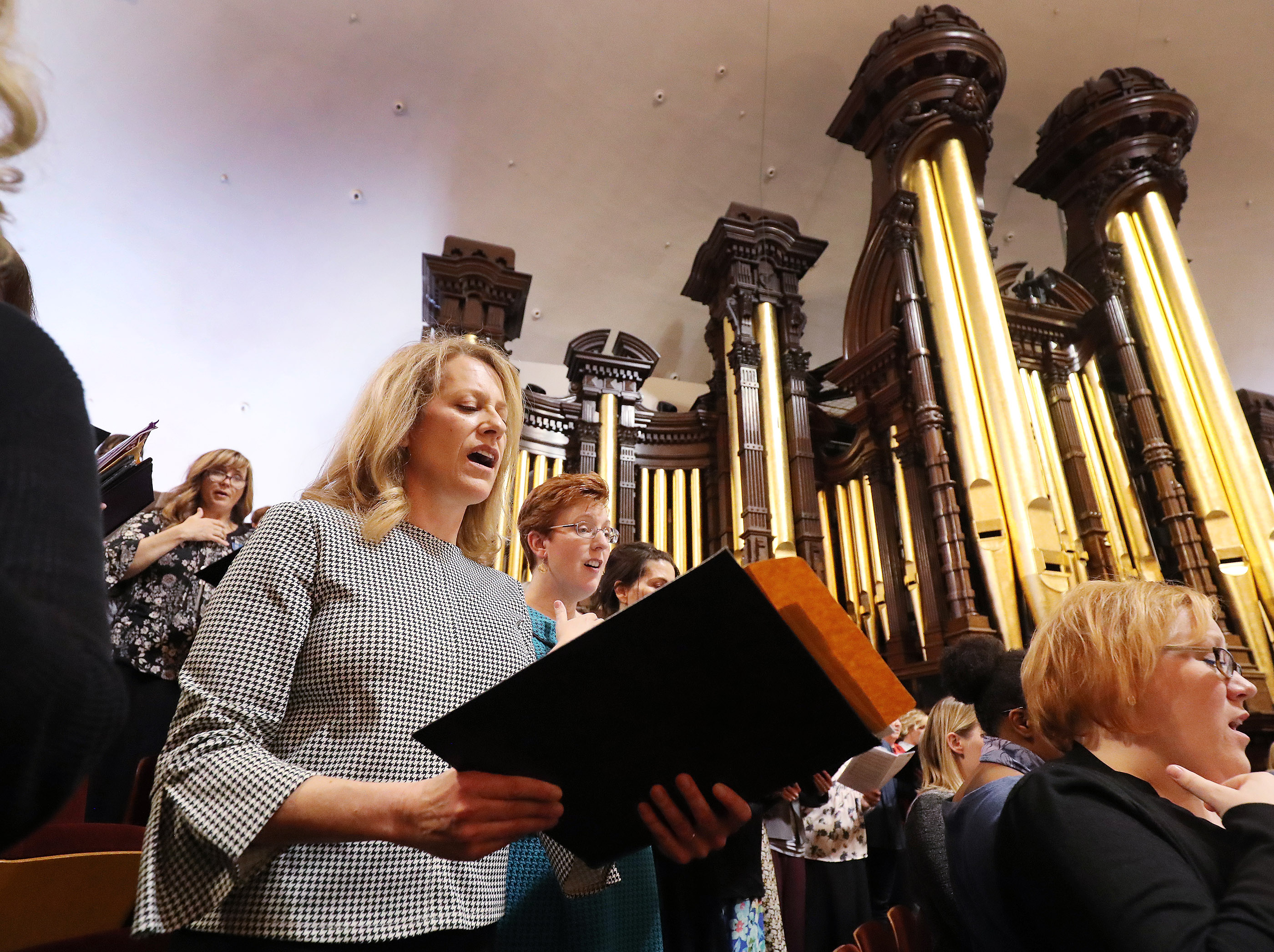 Debbie Matheson rehearses with The Tabernacle Choir at Temple Square in Salt Lake City on Thursday, April 11, 2019. Four people were selected through social media to sing with the choir.