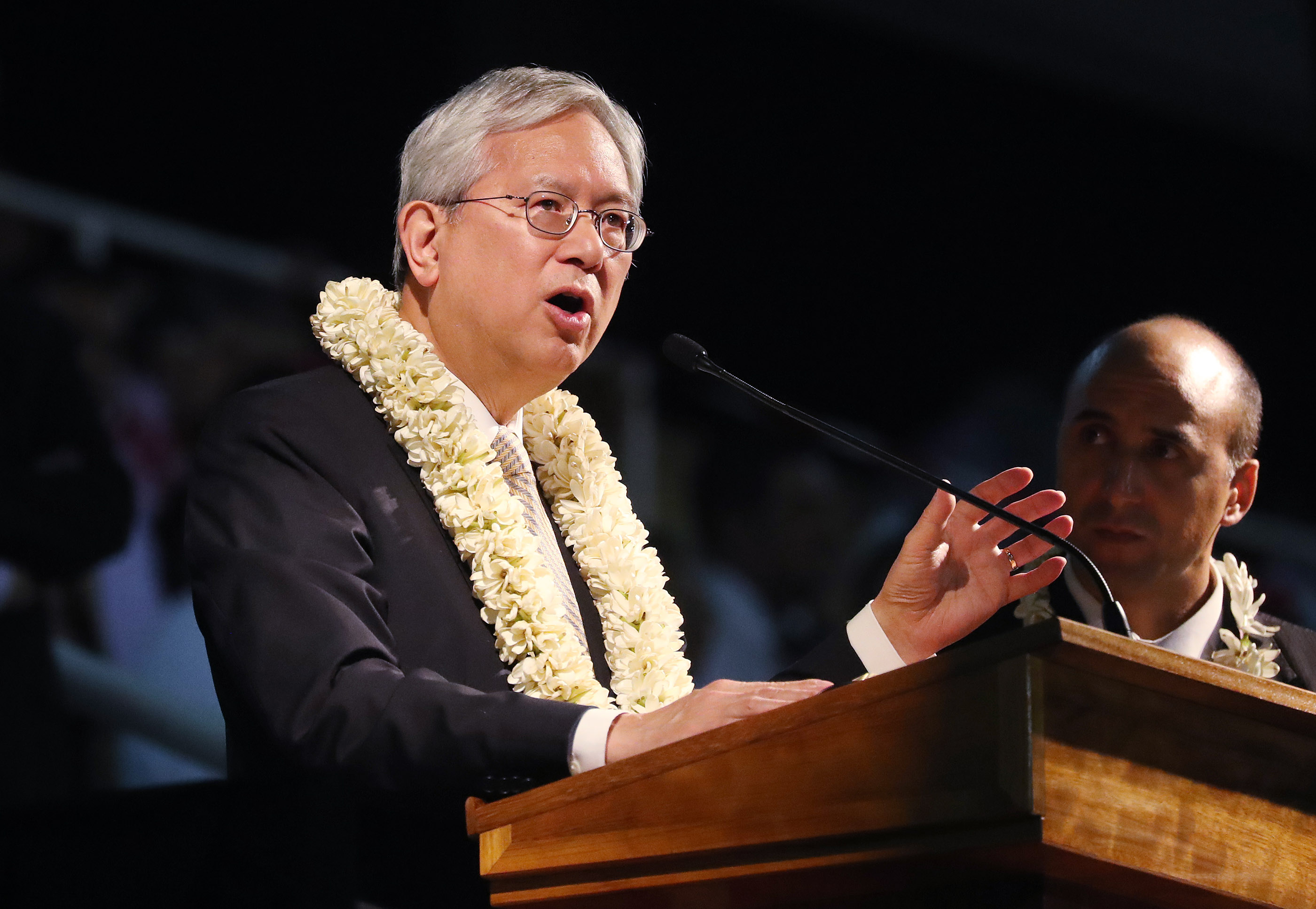 Elder Elder Gerrit W. Gong, of The Church of Jesus Christ of Latter-day Saints' Quorum of the Twelve Apostles, speaks during a devotional in Papeete, Tahiti, on May 24, 2019.