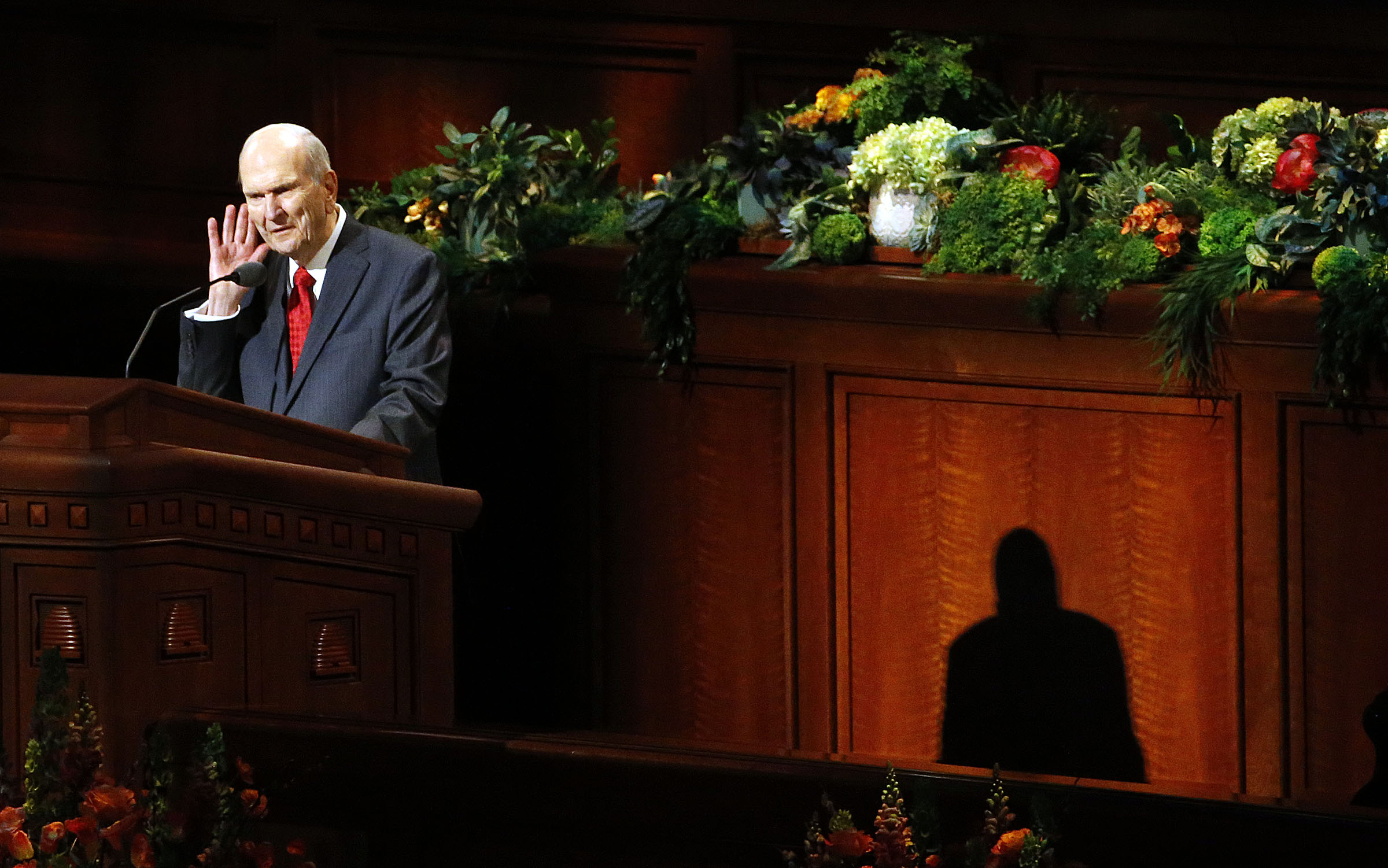 President Russell M. Nelson of The Church of Jesus Christ of Latter-day Saints tells priesthood holders to listen to their wives as he speaks during the priesthood session of the 189th Annual General Conference in the Conference Center in Salt Lake City on Saturday, April 6, 2019.