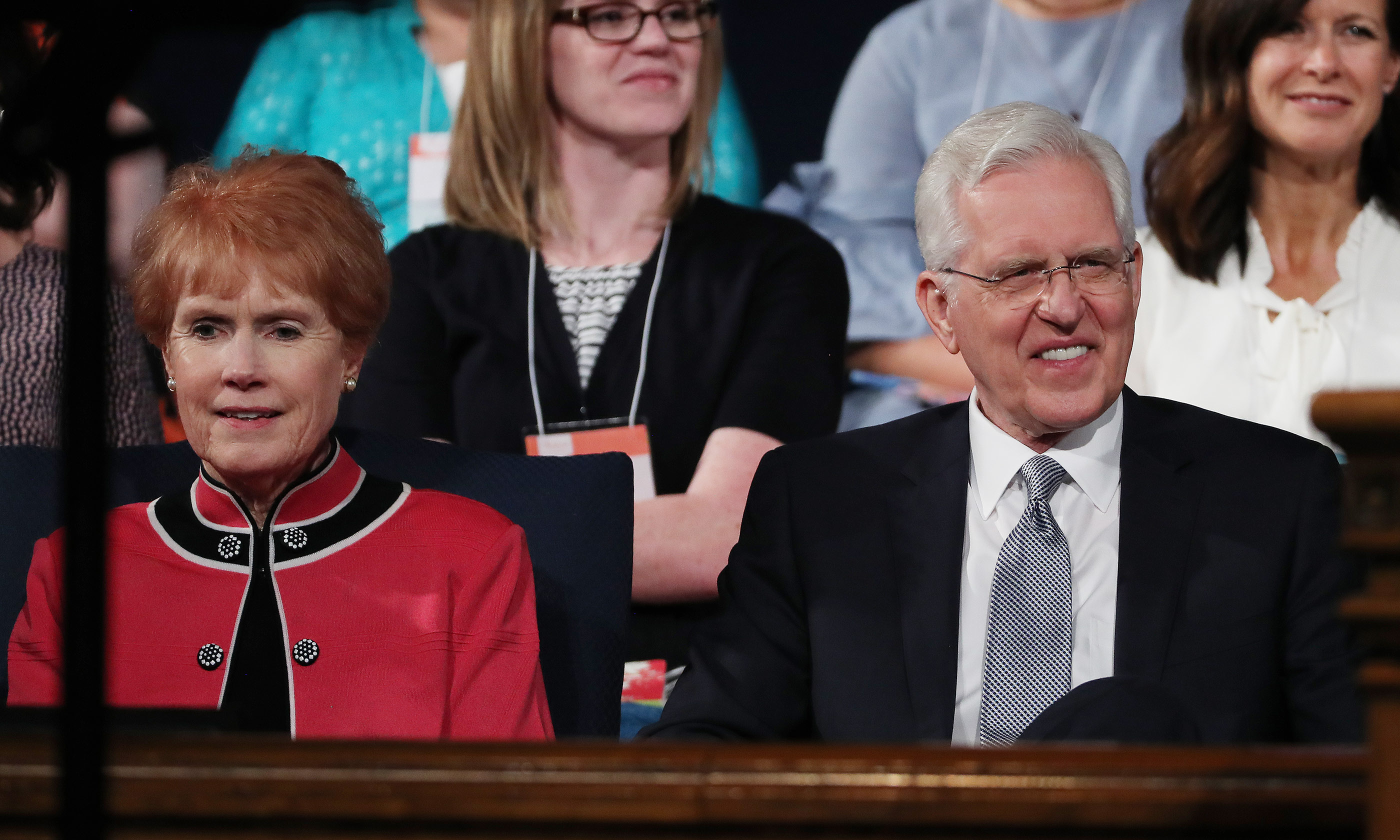 Elder D. Todd Christofferson of the Quorum of the Twelve Apostles for The Church of Jesus Christ of Latter-day Saints sits with his wife, Kathy, prior to speaking during BYU Women's Conference in Provo on Friday, May 3, 2019.