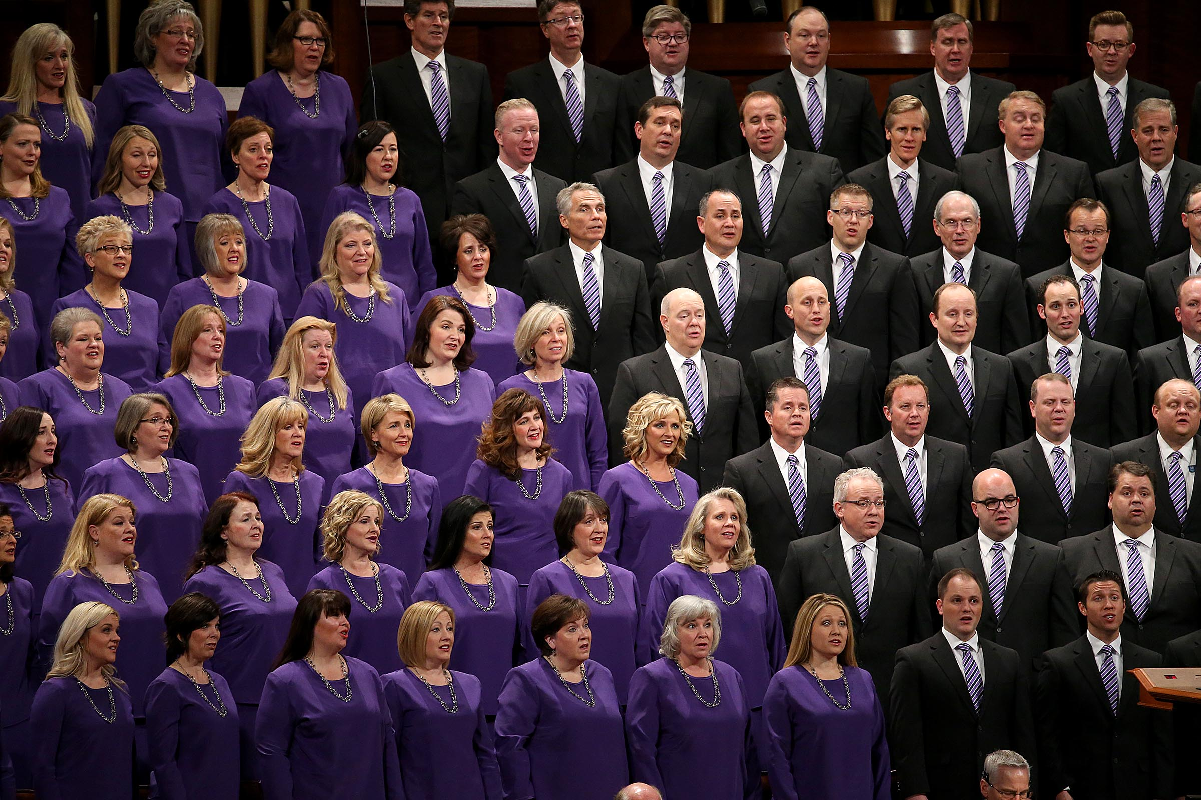 The Tabernacle Choir sings at Church President Thomas S. Monson's funeral at the Conference Center in Salt Lake City on Friday, Jan. 12, 2018.
