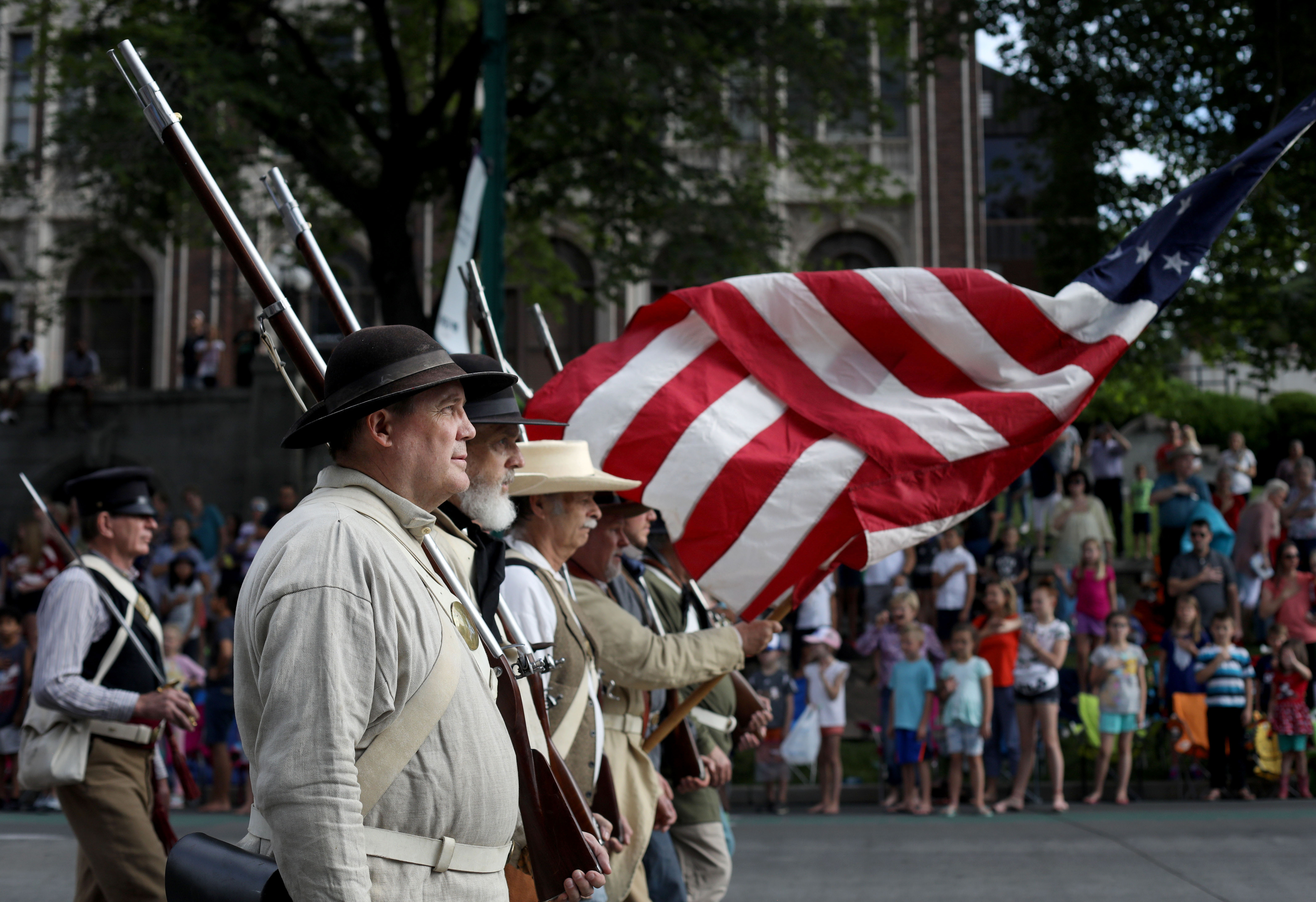 The Mormon Battalion Color Guard marches in the Days of '47 Parade in Salt Lake City on Wednesday, July 24, 2019.