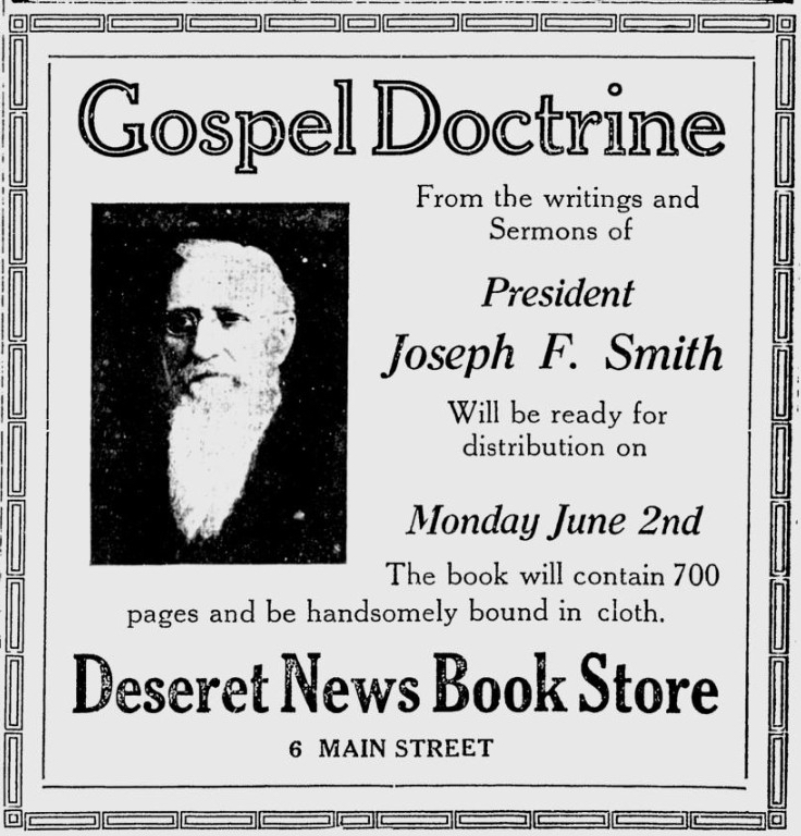 An advertisement in the 1919 Deseret News during the 89th Annual General Conference of The Church of Jesus Christ of Latter-day Saints.