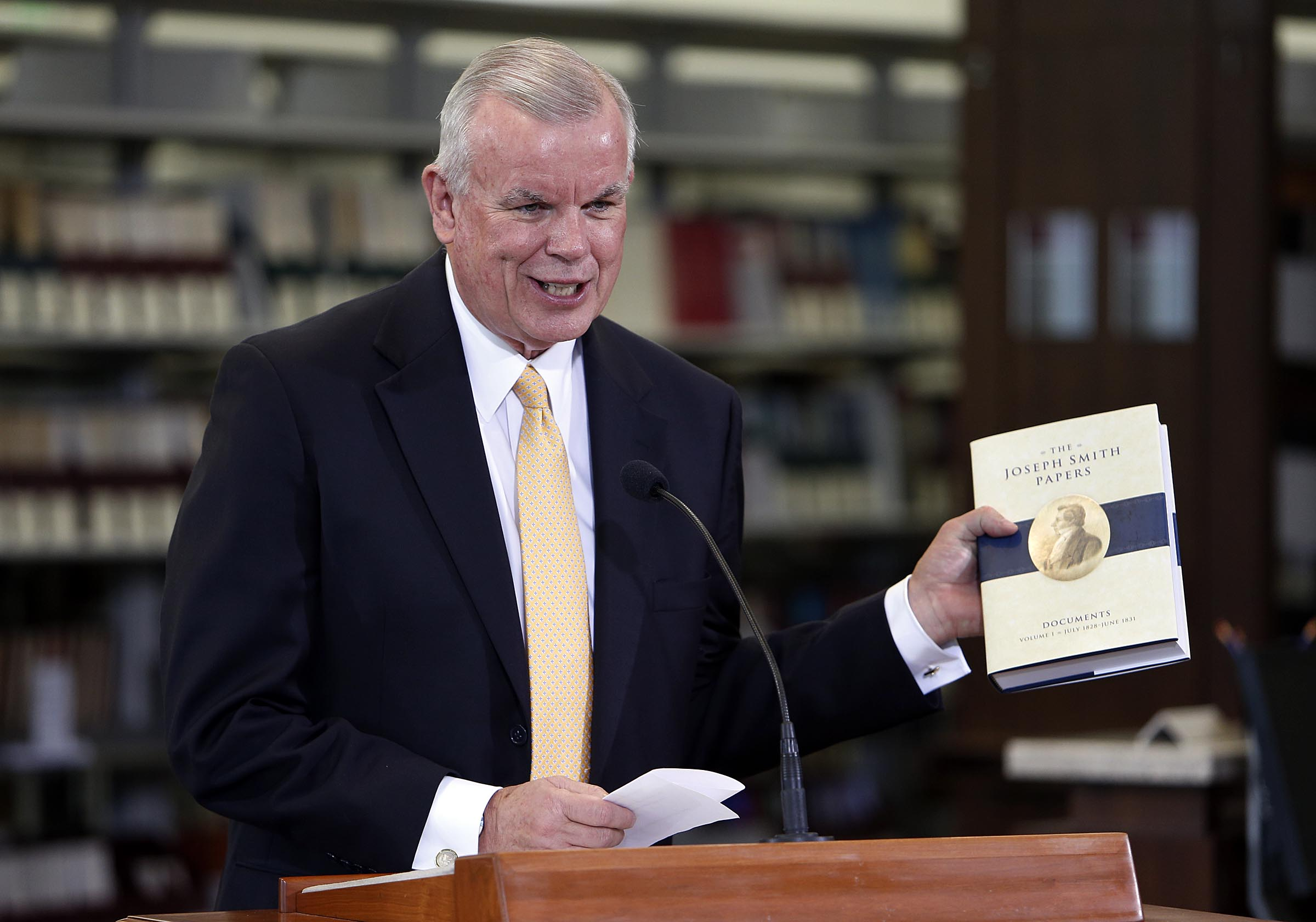 Elder Steven E. Snow, church historian and recorder, and executive director of the Church History Department, meets with the media to announce the release of the latest volume in the church's ongoing Joseph Smith Papers project in Salt Lake City, Wednesday, Sept. 4, 2013.
