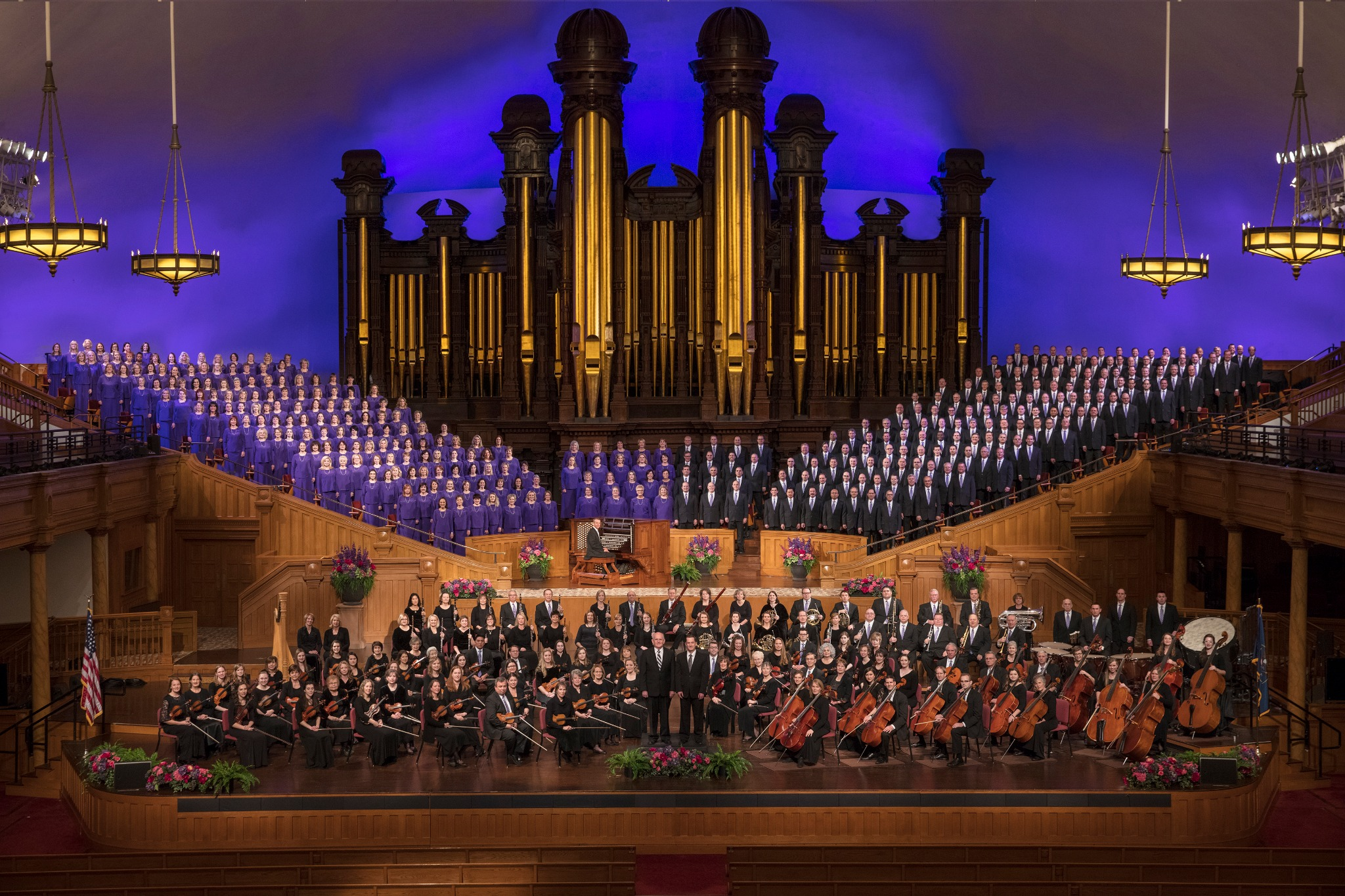 The Tabernacle Choir and Orchestra at Temple Square in the historic Tabernacle building in Salt Lake City.