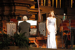Tabernacle Choir member Andrea Paulsen, accompanied by Tabernacle organist Richard Elliott, performs one of Wanda Palmer's compositions.