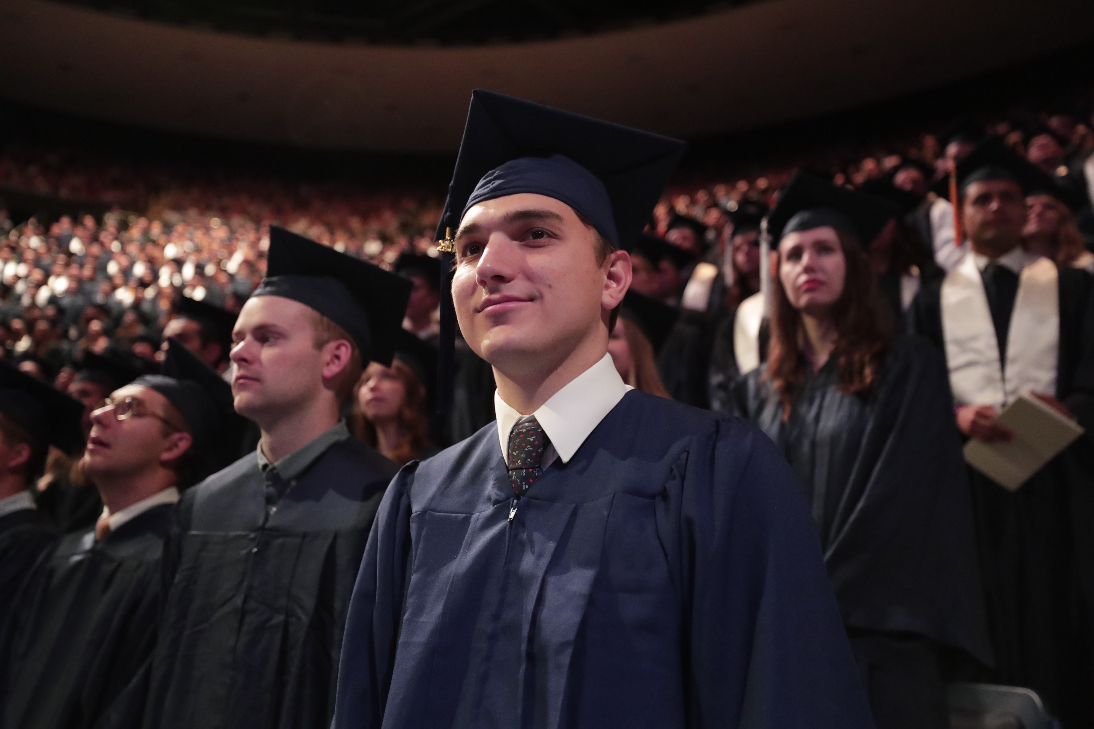 Graduates gather for the April 25, 2019, commencement at BYU.