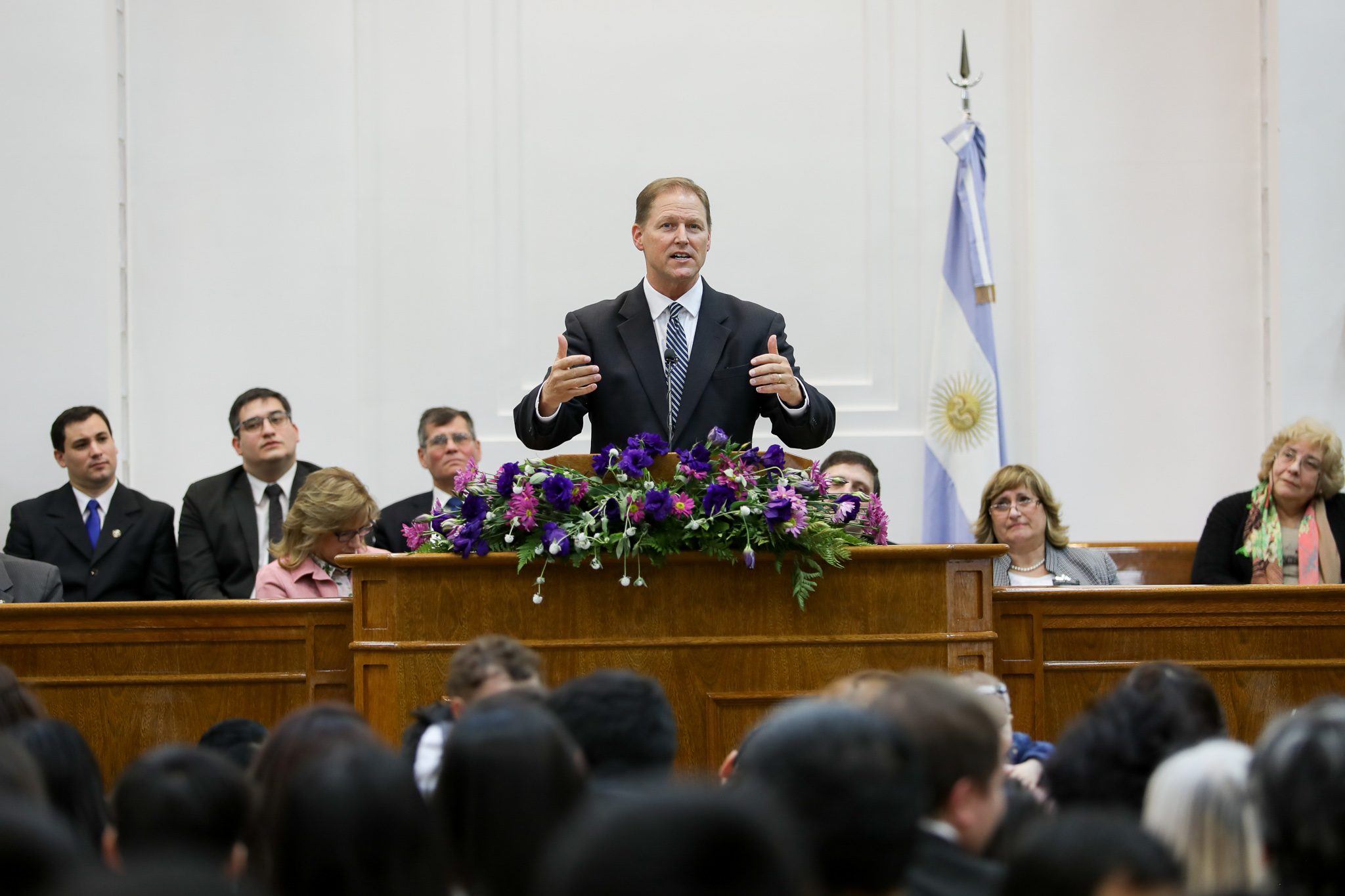 Elder Mark A. Bragg speaks during the meeting where the southernmost stake in the world, the Tierra del Fuego Argentina Stake, was created on June 2, 2019.