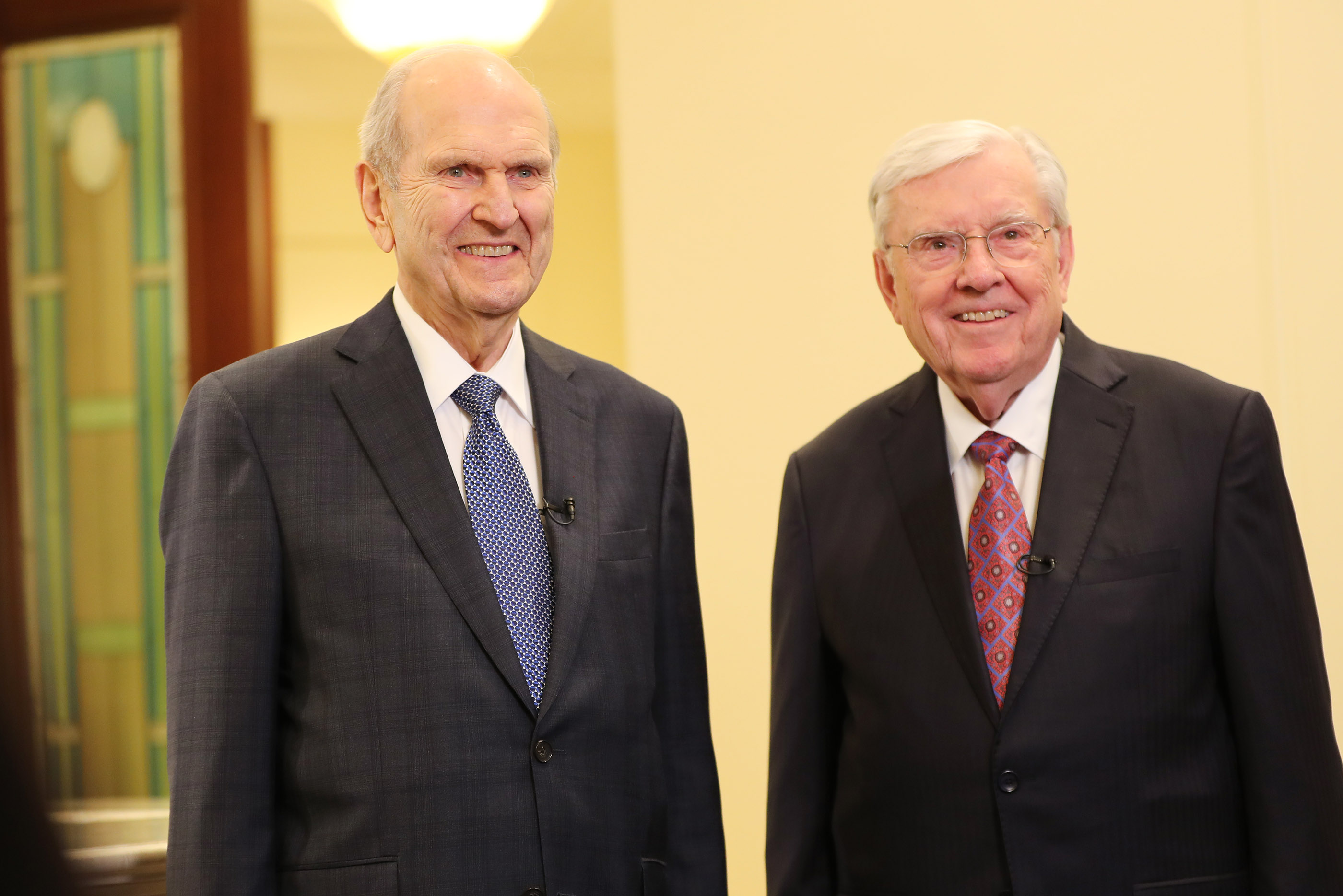 President Russell M. Nelson and President M. Russell Ballard, Acting President of the Quorum of the Twelve Apostles, speak to media after the dedication of the Rome Italy Temple in Rome, Italy, on Sunday, March 10, 2019.