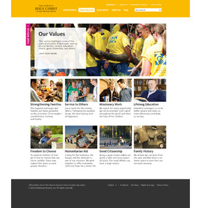 """Image of the """"Our Values"""" page of the new Mormon.org web site."""