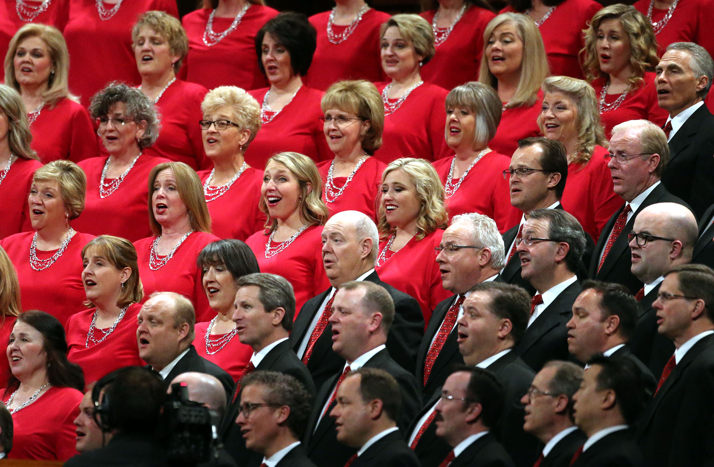 The Mormon Tabernacle Choir sings during the Sunday afternoon session of the 188th Annual General Conference of The Church of Jesus Christ of Latter-day Saints at the Conference Center in Salt Lake City on Sunday, April 1, 2018.