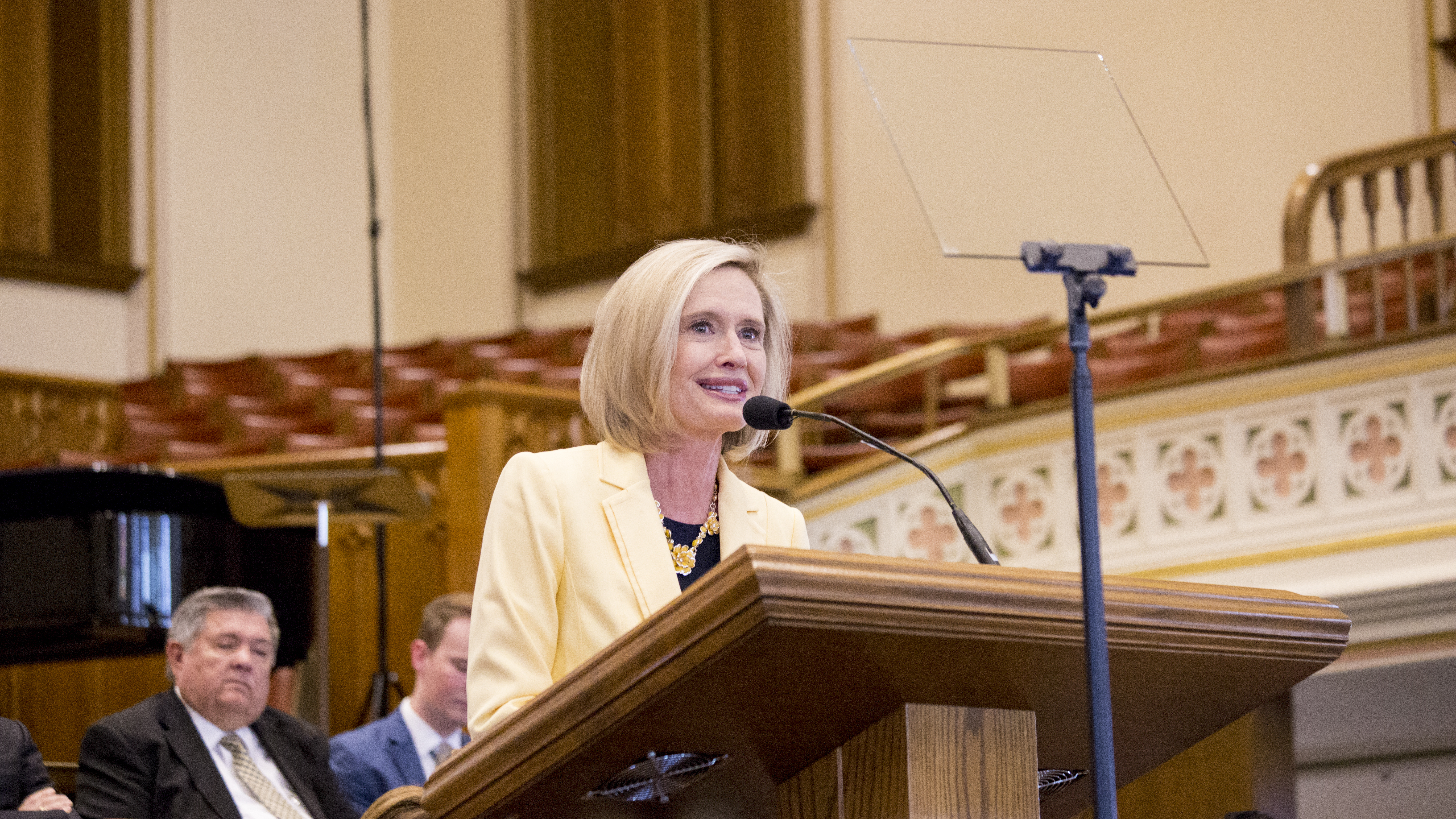 Sister Bonnie H. Cordon, Young Women general president, speaks during a devotional for LDS Business College students held in the Assembly Hall on Temple Square on May 29.