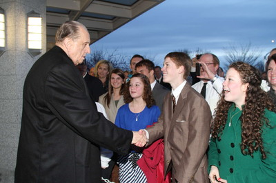 President Thomas S. Monson greets members as he leaves the Boise Idaho Temple after he rededicated it Sunday, Nov. 18.