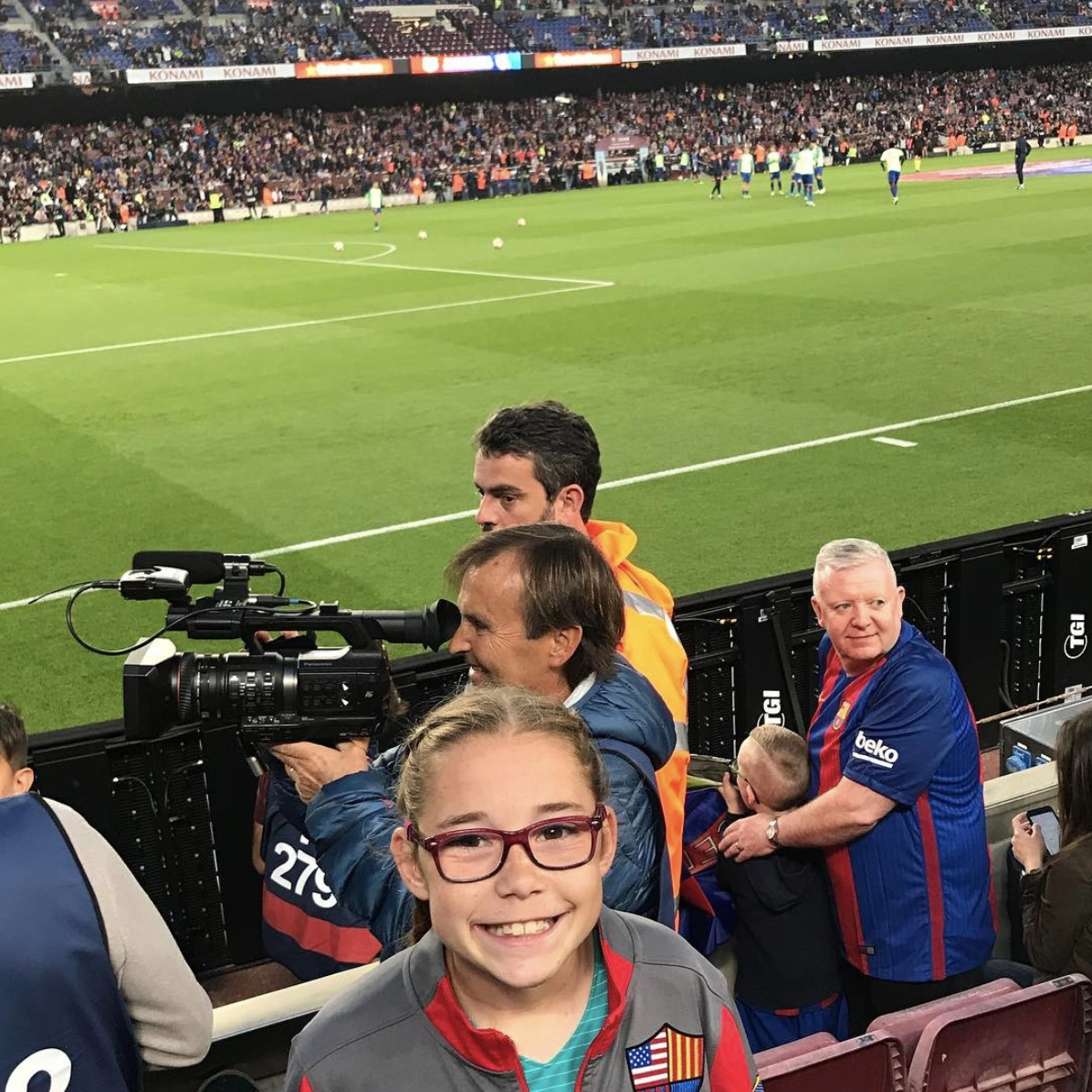 A photo of Olivia Moultrie at a Barca game in Barcelona, Spain from April 2017.
