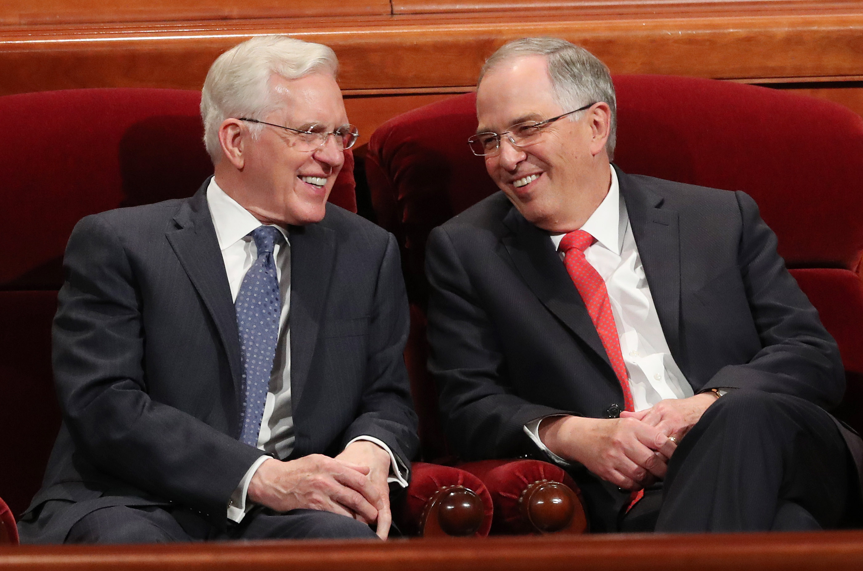 Elder D. Todd Christofferson and Elder Neil L. Andersen of the Quorum of the Twelve Apostles talk prior to the Sunday afternoon session of the 188th Semiannual General Conference of The Church of Jesus Christ of Latter-day Saints in the Conference Center in Salt Lake City on Sunday, Oct. 7, 2018.
