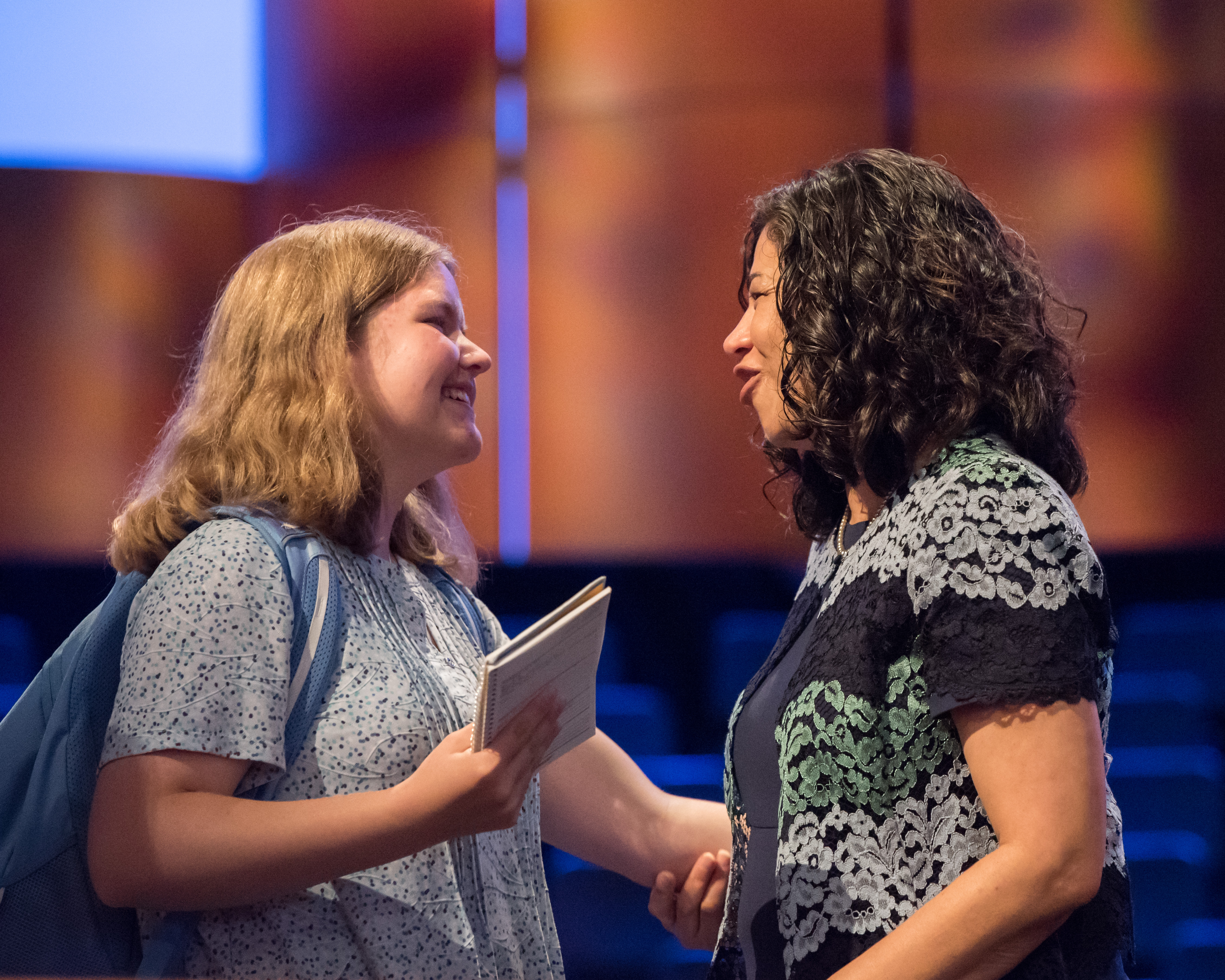 Sister Reyna I. Aburto, second counselor in the Relief Society general presidency, greets a BYU-Idaho student following a devotional held on June 4, 2019.