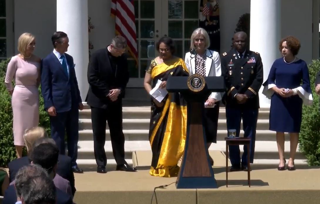 Sister Joy D. Jones of the Primary general presidency approaches the podium at the White House to offer a prayer, Thursday, May 2, 2019.
