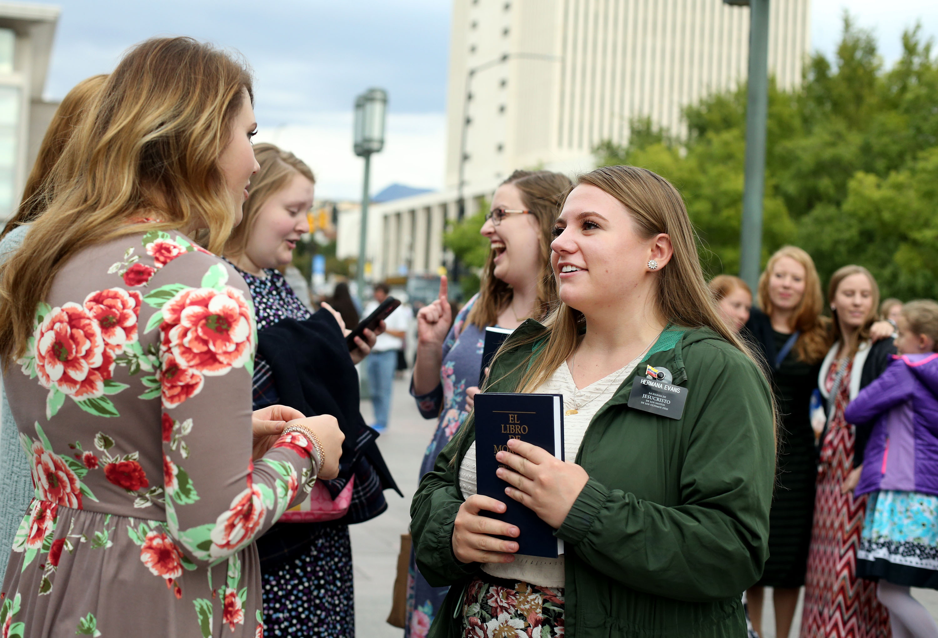 Women gather before the start of the general women's session of the 188th Semiannual General Conference of The Church of Jesus Christ of Latter-day Saints held in the Conference Center in downtown Salt Lake City on Saturday, Oct. 6, 2018.