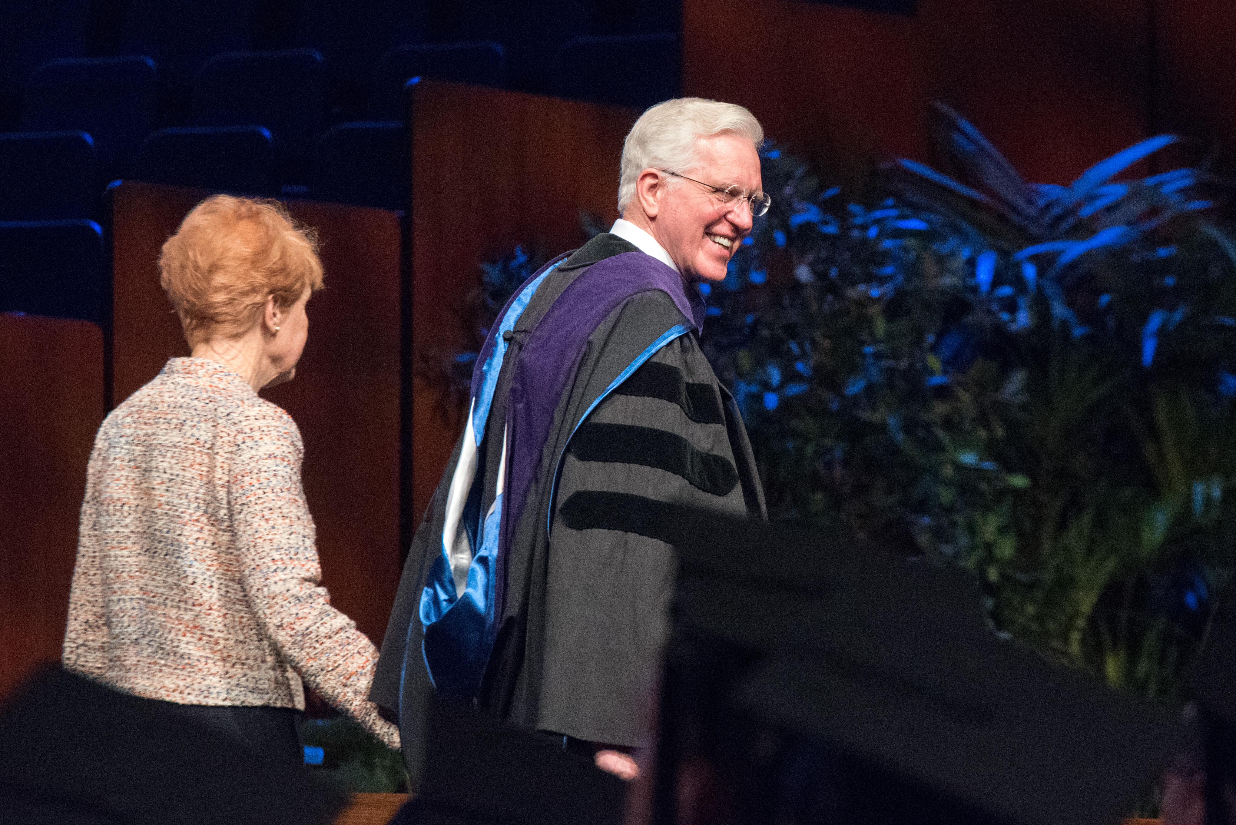 Elder D. Todd Christofferson of the Quorum of the Twelve Apostles and his wife, Sister Kathy Christofferson, are seen during the BYU-Idaho 2018 Fall semester commencement on Dec. 19, 2018.
