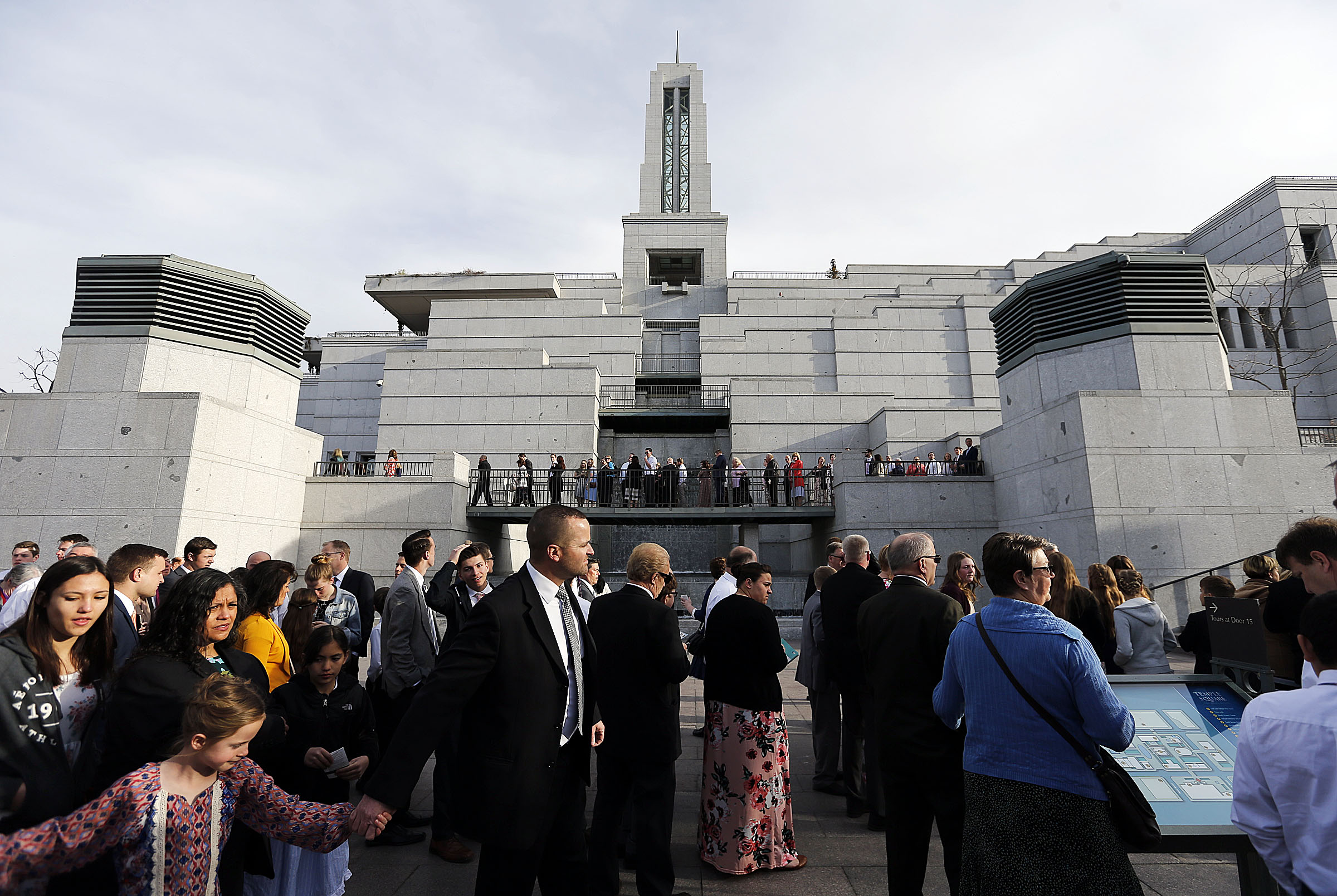 Conferencegoers line up before the Saturday morning session of the 188th Annual General Conference of The Church of Jesus Christ of Latter-day Saints in Salt Lake City on Saturday, March 31, 2018.