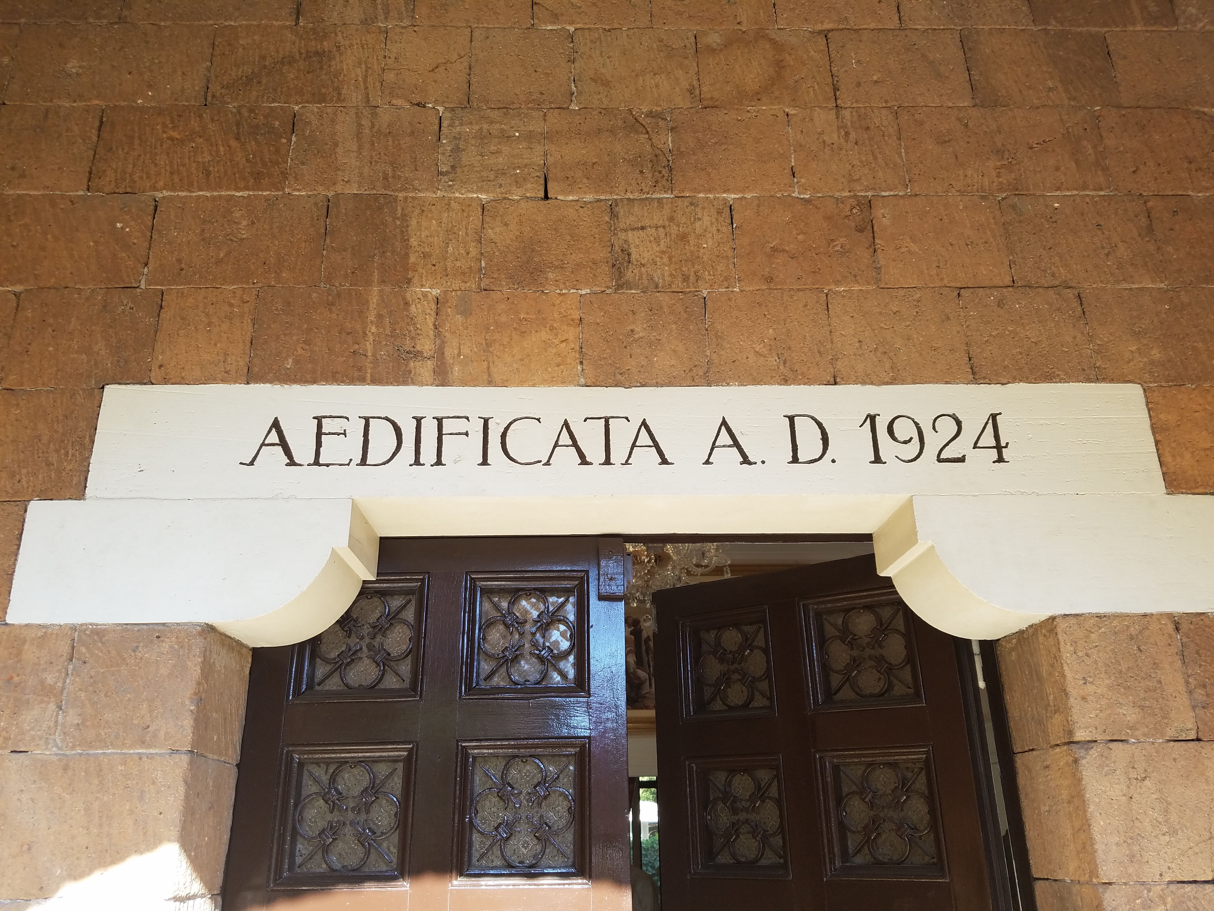 Above the door of the Italy Rome Mission home is the date the villa was completed and first inhabited.