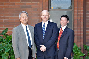 President Greg Byers, center, of the new Yale Branch, Irvine California Stake, is accompanied by counselors Morgan Ying, left, and Jared Ong.