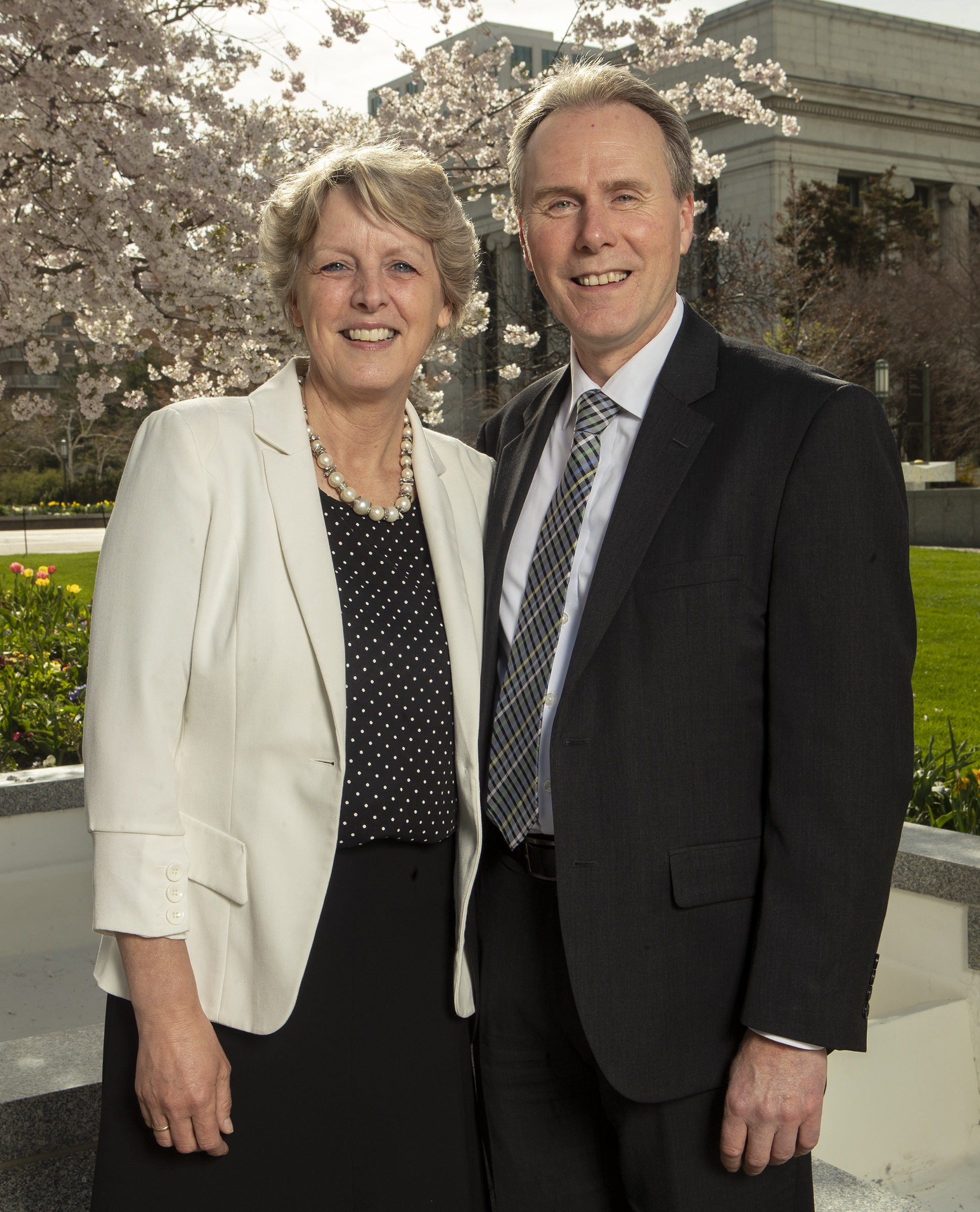 Sister Marjan Boom and Elder Hans T. Boom pose for photos at the Church office building in Salt Lake City on Monday, April 8, 2019. Elder Boom was called to serve as a General Authority Seventy.