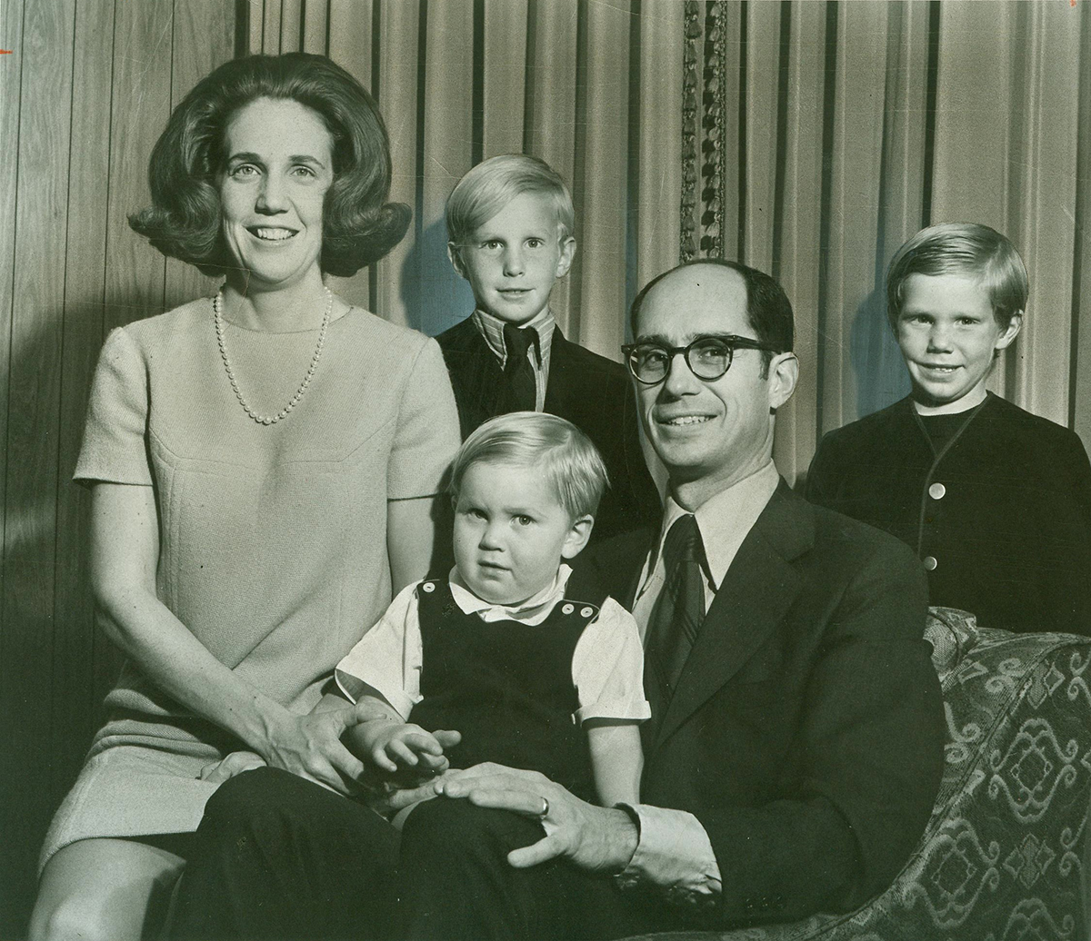 Dr. Henry B. Eyring and his wife, Kathleen, and family before his inauguration as president of Ricks College. Their sons are Matthew, front, Henry and Stuart.