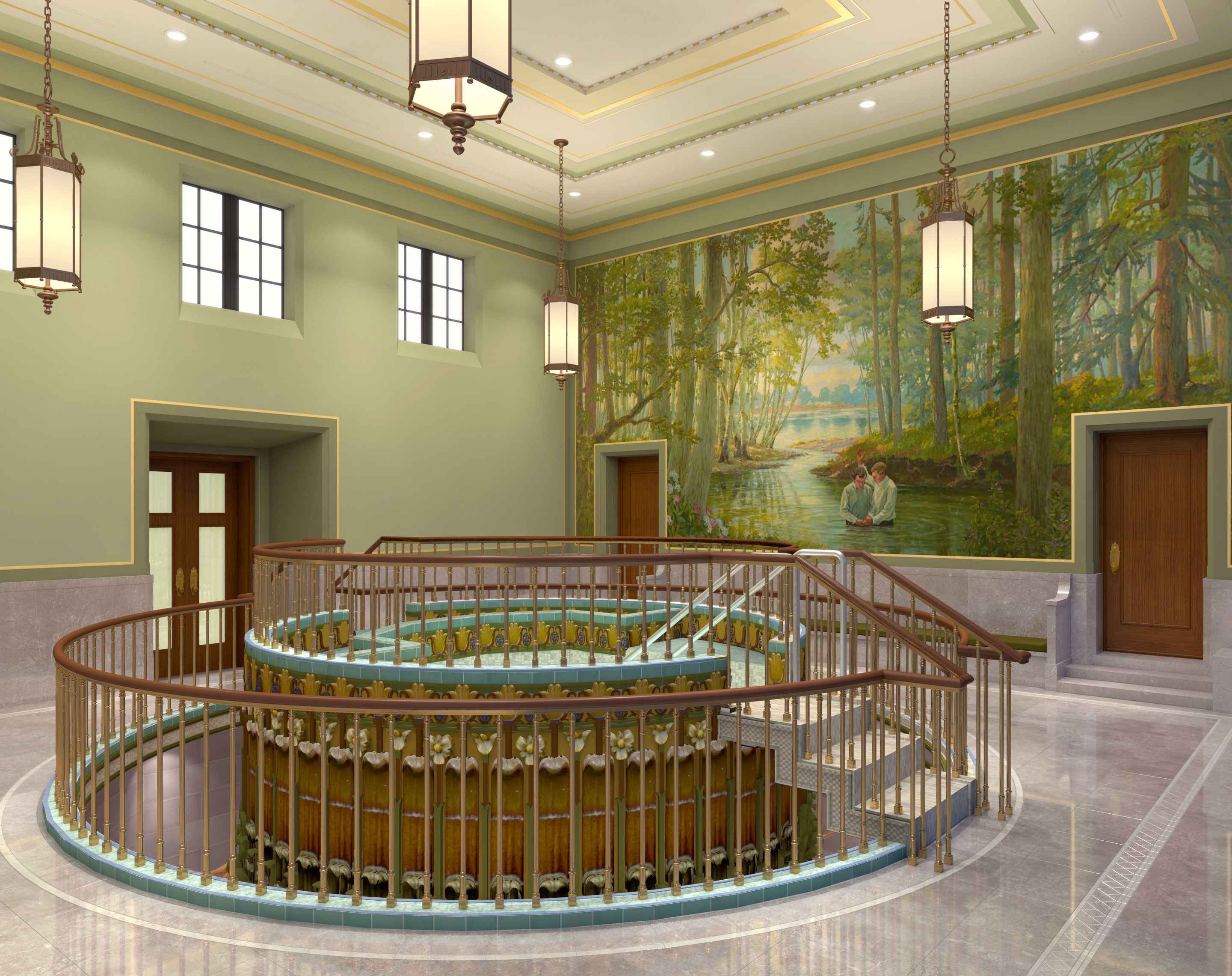Rendering of the baptistry in the Mesa Arizona Temple.
