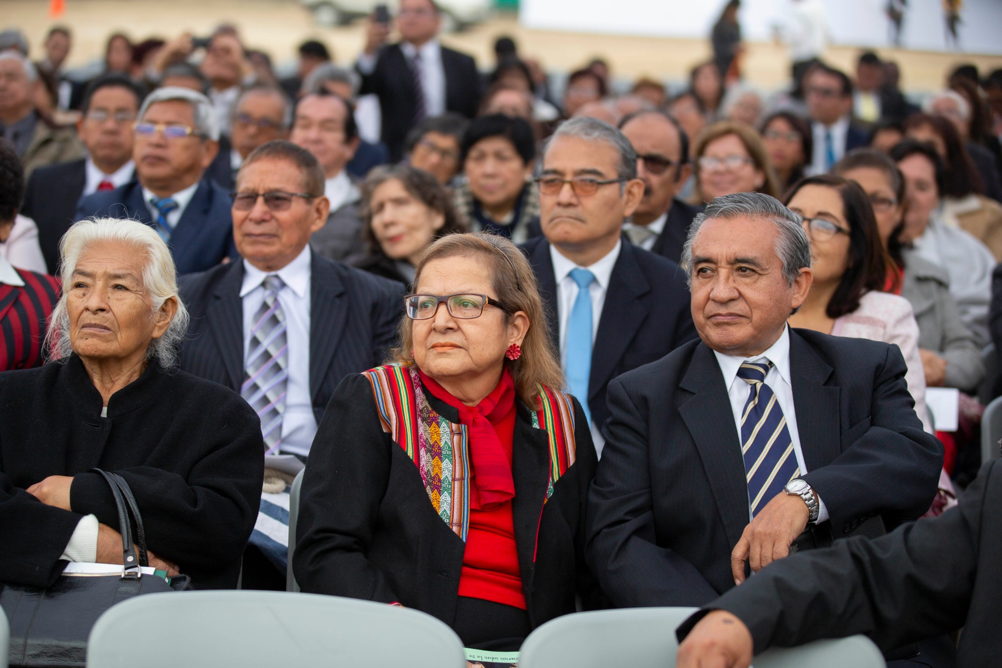 Latter-day Saints in Lima, Peru, gather to note the start of construction on the Lima Peru Los Olivos Temple with the groundbreaking ceremony held Saturday, June 8, 2019.