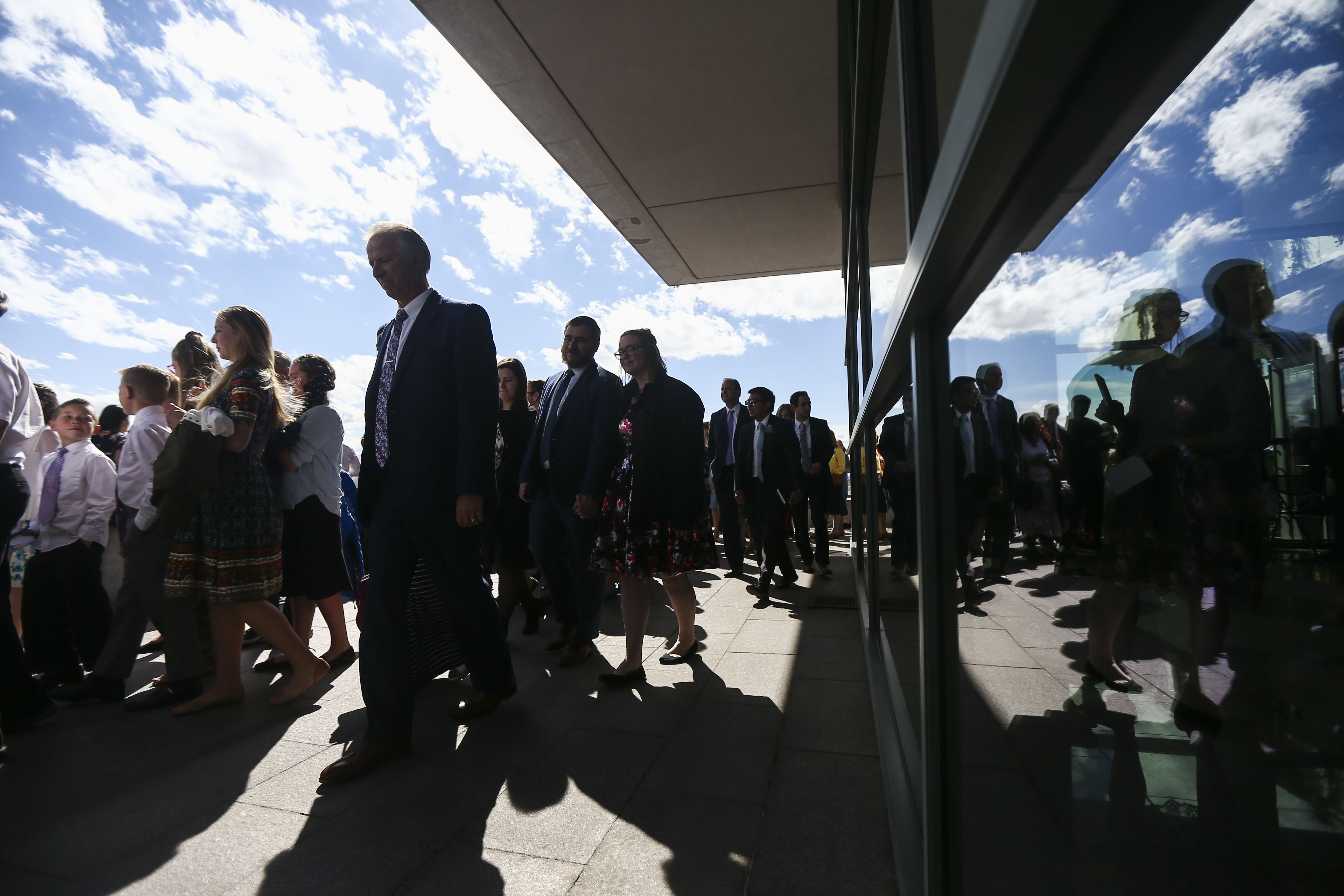 Conferencegoers leave the Conference Center after the Sunday afternoon session of the 189th Annual General Conference of The Church of Jesus Christ of Latter-day Saints in Salt Lake City on Sunday, April 7, 2019.