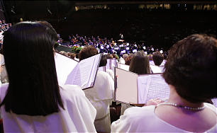 The Mormon Tabernacle Choir sings during a run through prior to their weekly broadcast in Salt Lake City, Utah, Sunday, July 11, 2010.