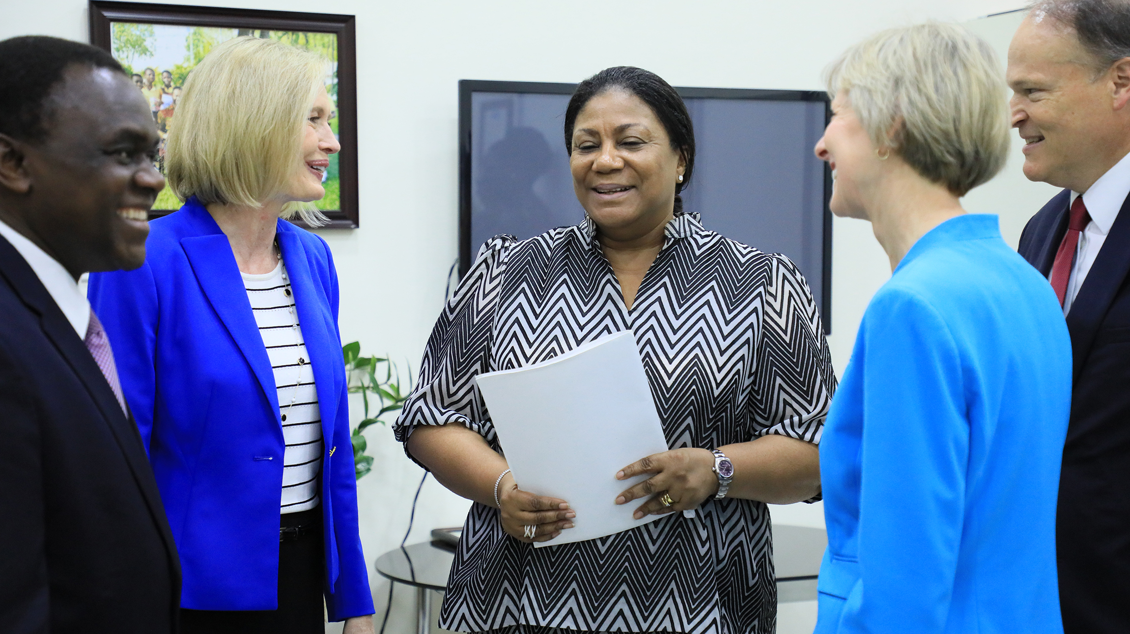 Sister Jean B. Bingham, right, and Sister Bonnie H. Cordon, left, visit Rebecca Naa Okaikor Akufo-Addo, the first lady of the Republic of Ghana, at North Ridge in Accra, Friday, March 1, 2019.