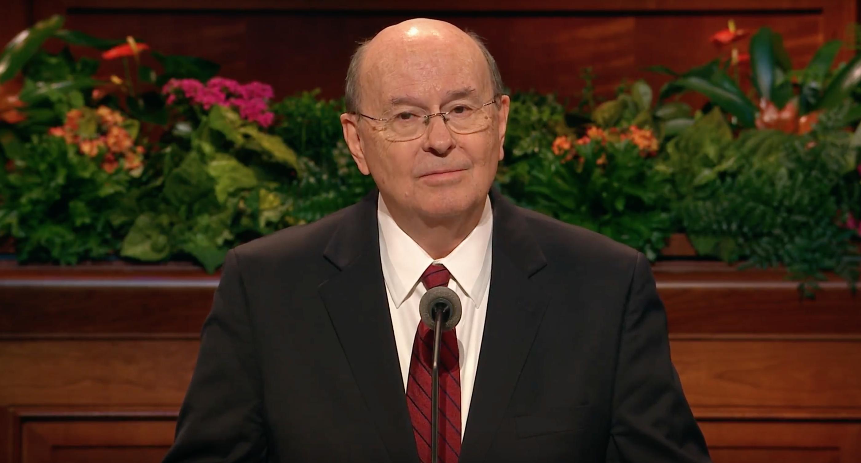 Elder Quentin L. Cook speaks at October 2018 general conference.