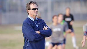 North Carolina women's soccer coach Anson Dorrance oversees practice during the school's championship 2012 season.