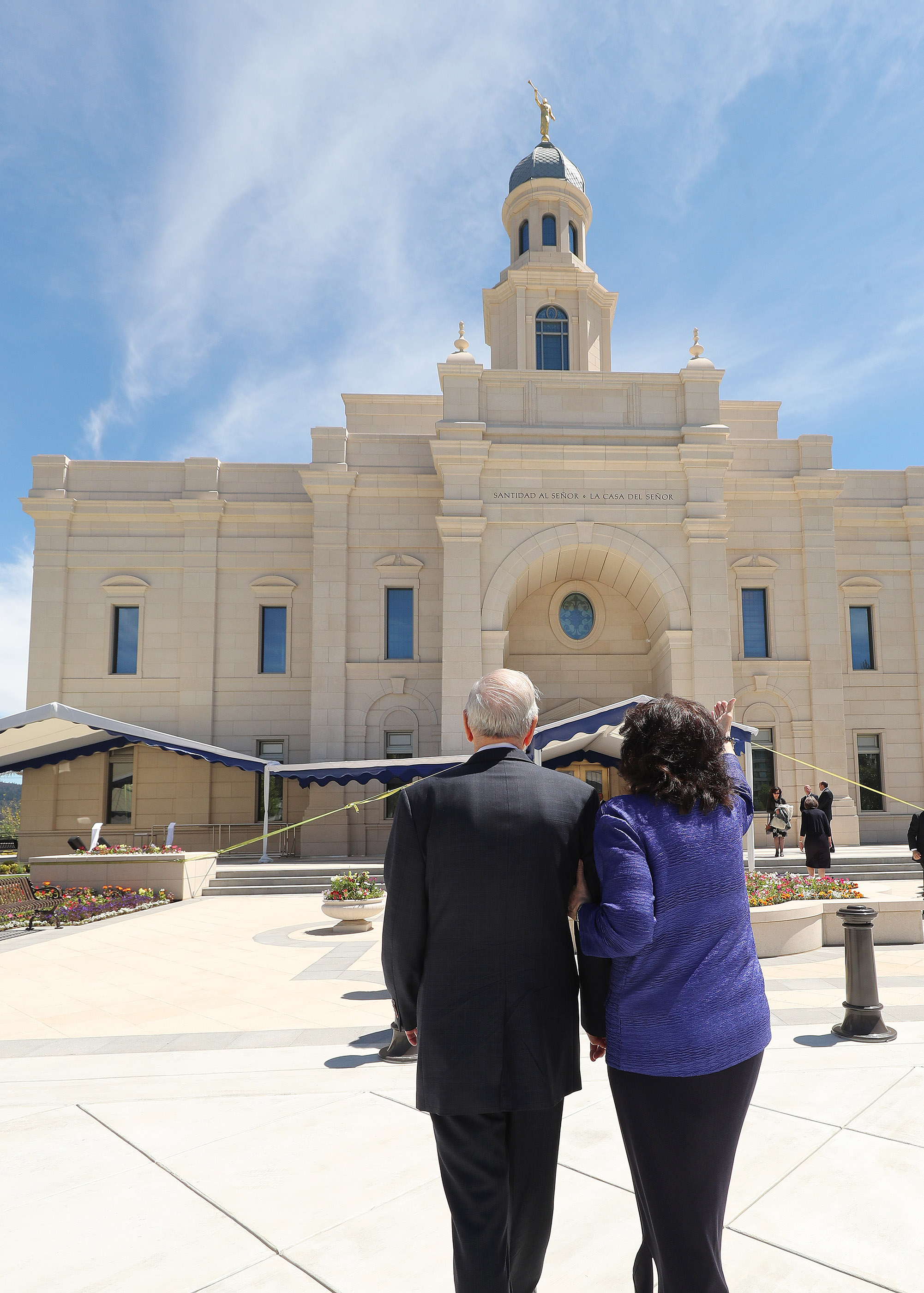 President Russell M. Nelson of The Church of Jesus Christ of Latter-day Saints and his wife Sister Wendy Nelson walk near the temple in Concepcion, Chili on Saturday, Oct. 27, 2018.